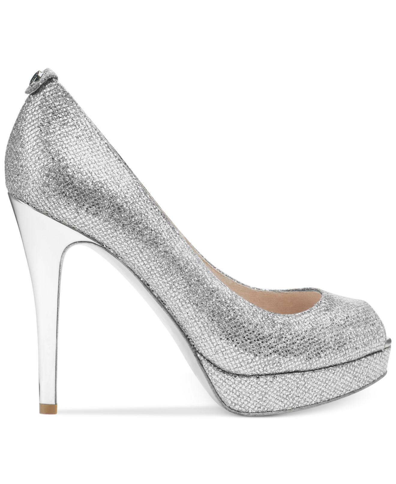 Silver Glitter Pumps Low Heel