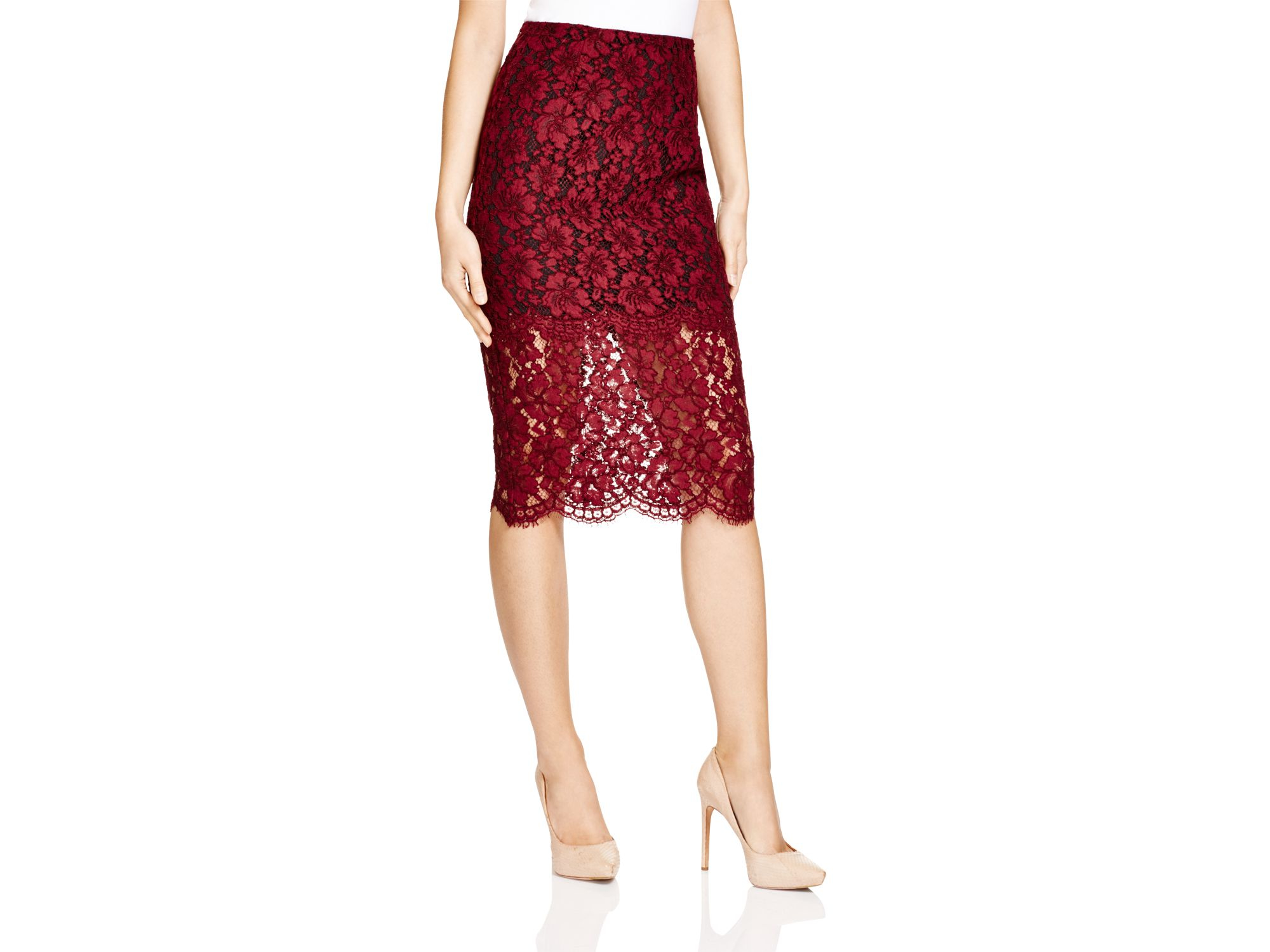 14bf24a28 Sandro Judy Lace Pencil Skirt - Bloomingdale's Exclusive in Red - Lyst