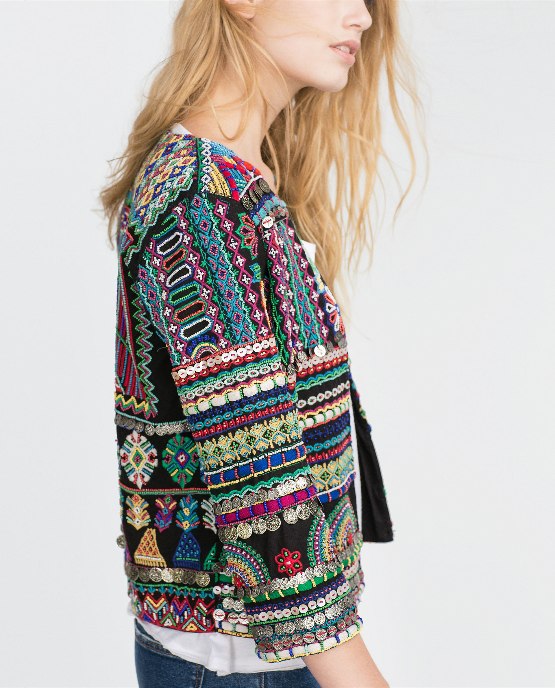 Zara Embroidered Jacket In Black | Lyst