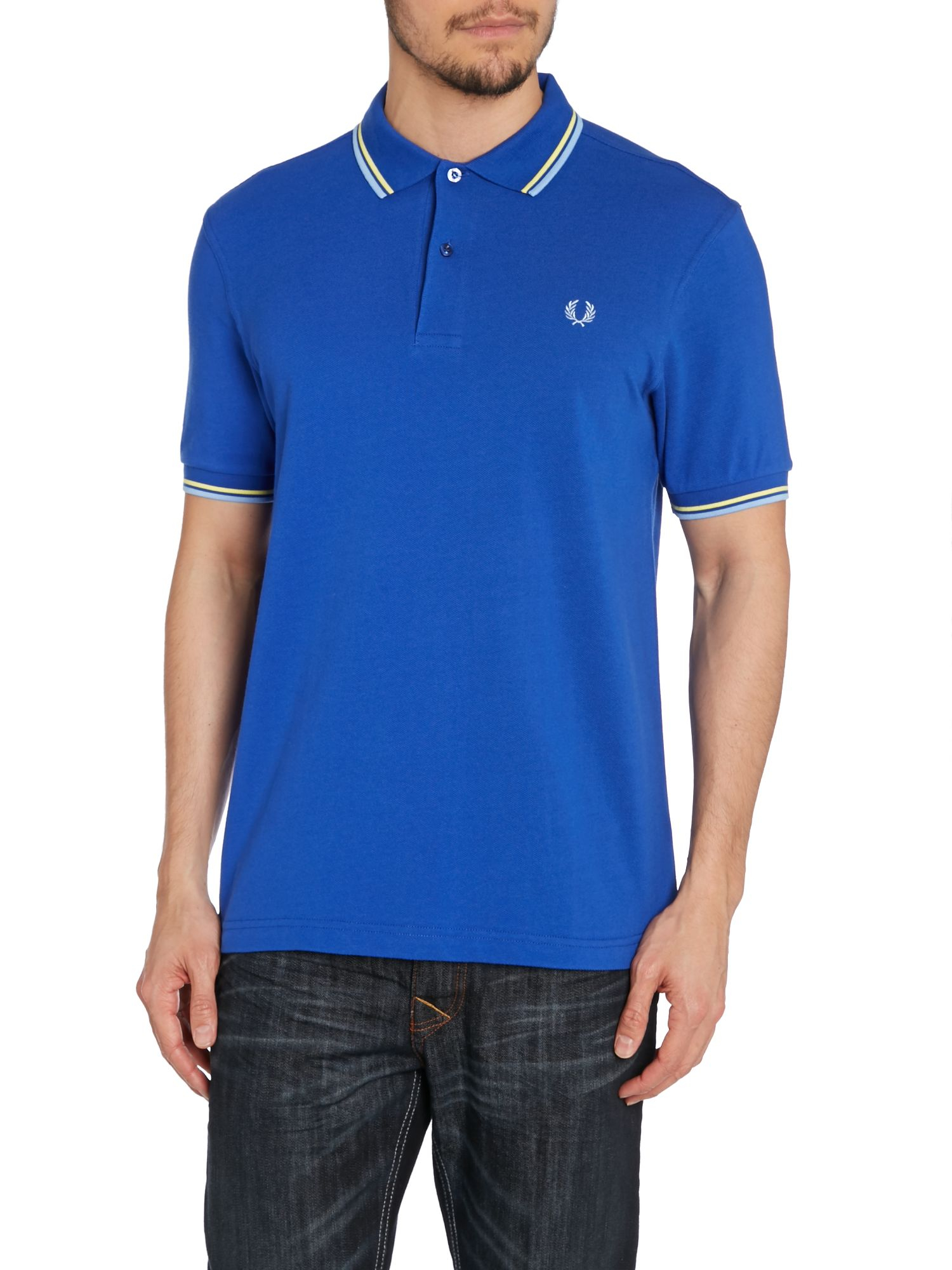 fred perry twin tipped regular fit polo shirt in blue for men lyst. Black Bedroom Furniture Sets. Home Design Ideas