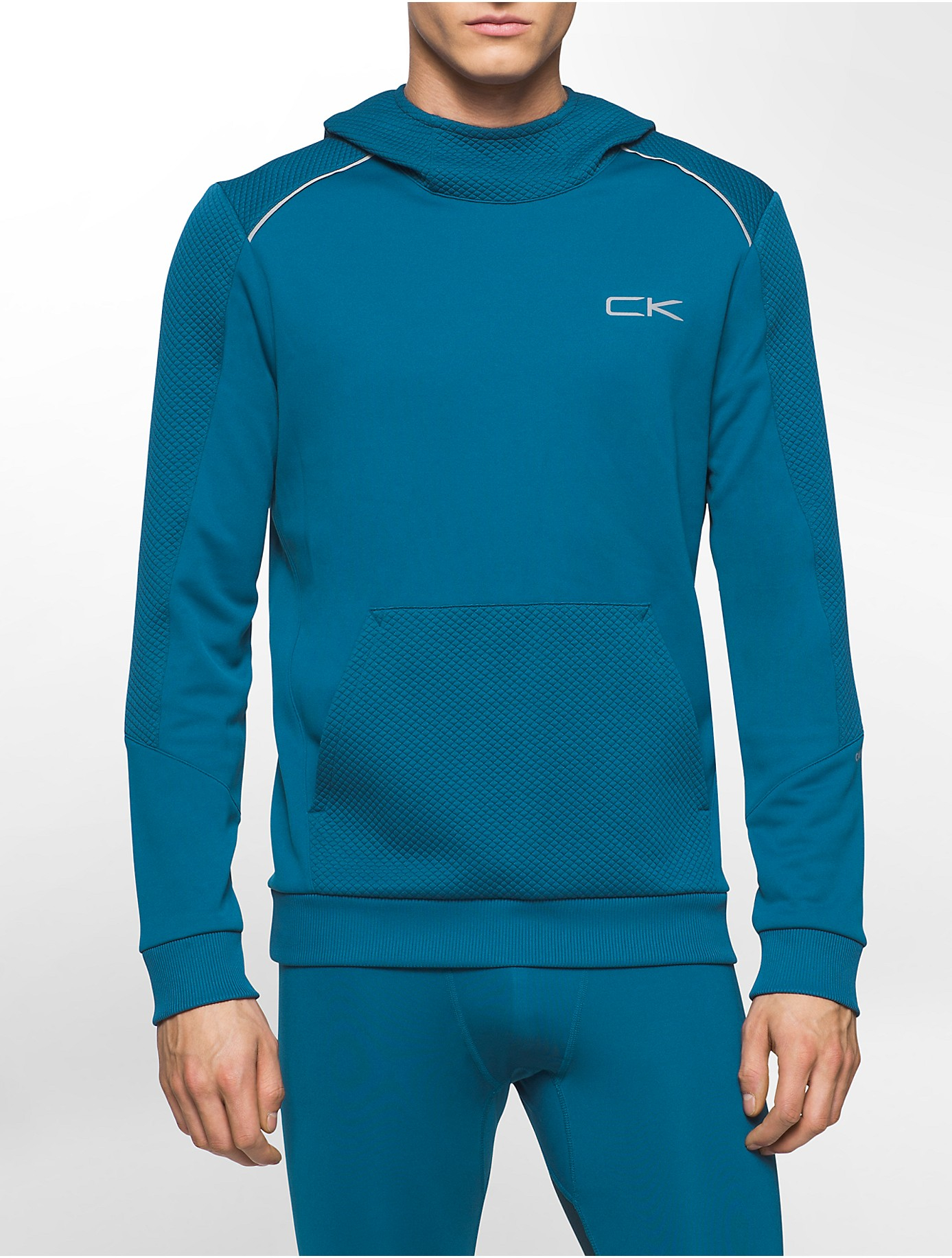 calvin klein performance textured fleece hoodie in blue for men lyst. Black Bedroom Furniture Sets. Home Design Ideas