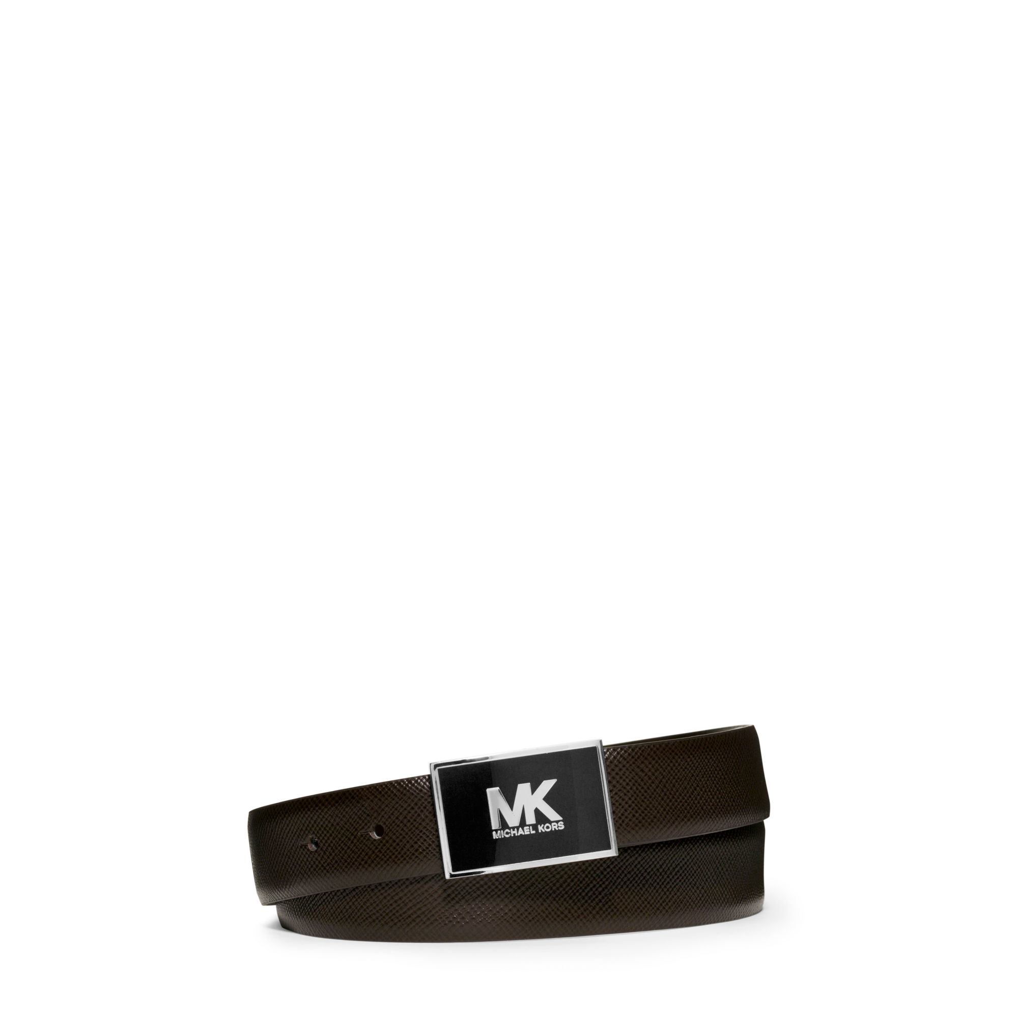 michael kors leather logo belt in brown for lyst