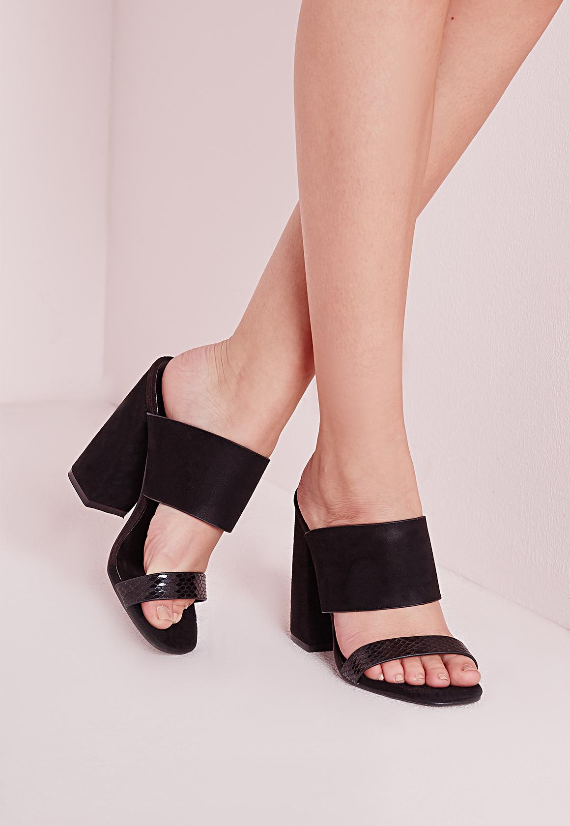 Lyst Missguided Double Strap Block Heel Mules Black In Black