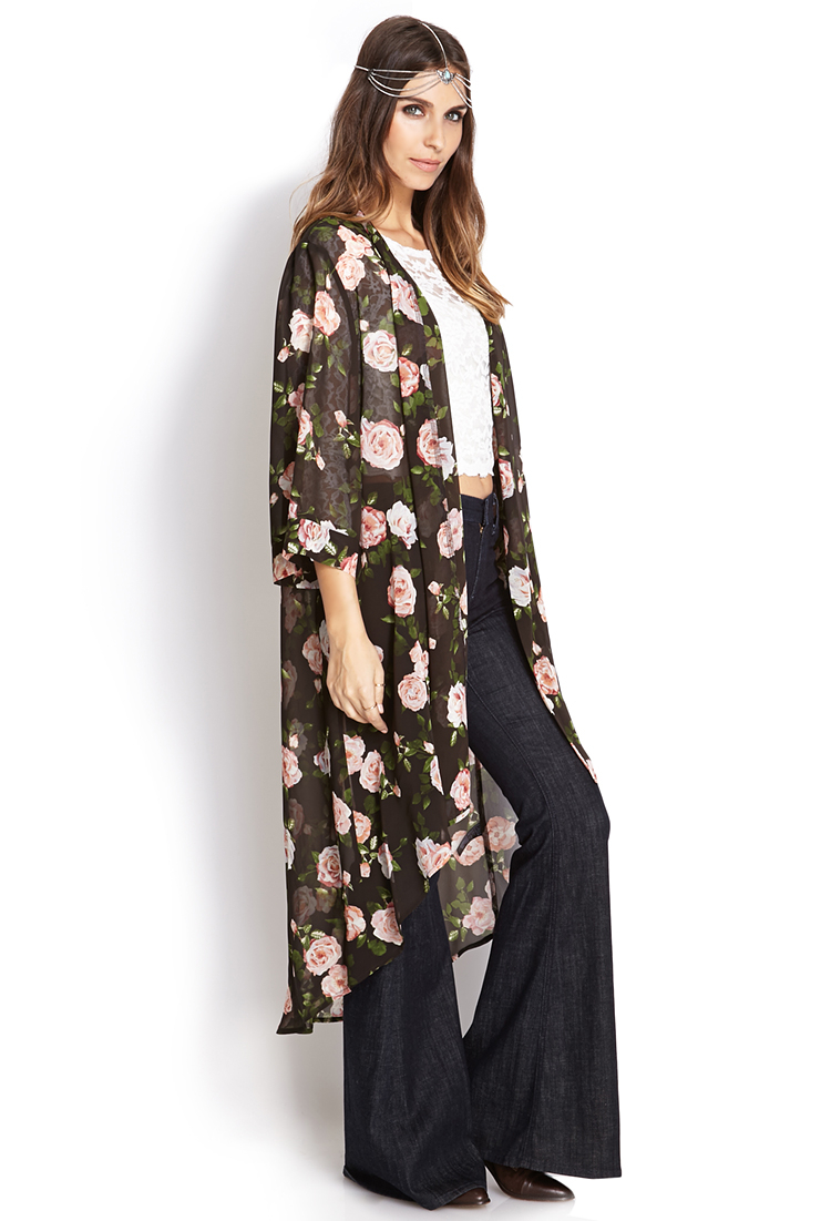 Forever 21 Enchanted Rose Maxi Cardigan in Pink | Lyst