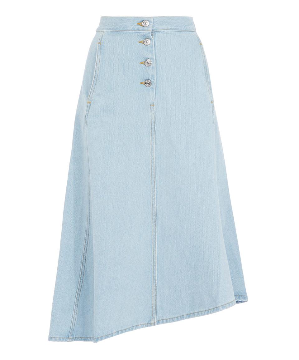 acne light blue wash button asymmetric kady skirt in