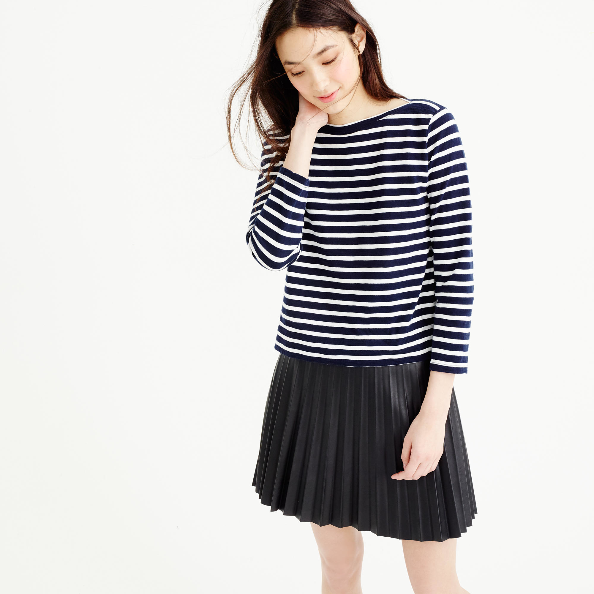1df9115fa1 J.Crew Midweight Striped Boatneck T-shirt in Blue - Lyst