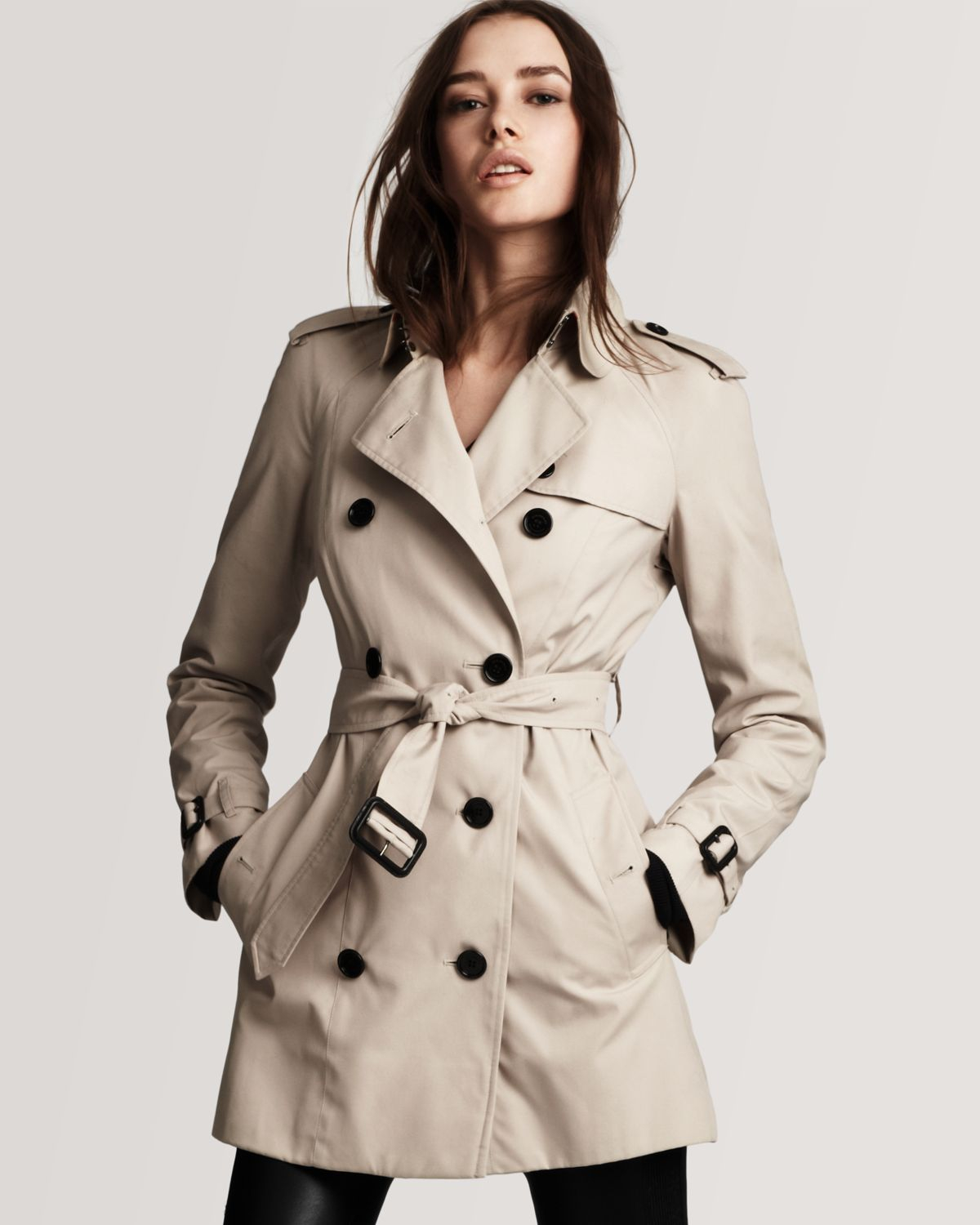 Burberry London Double Breasted Short Trench Coat in Natural | Lyst