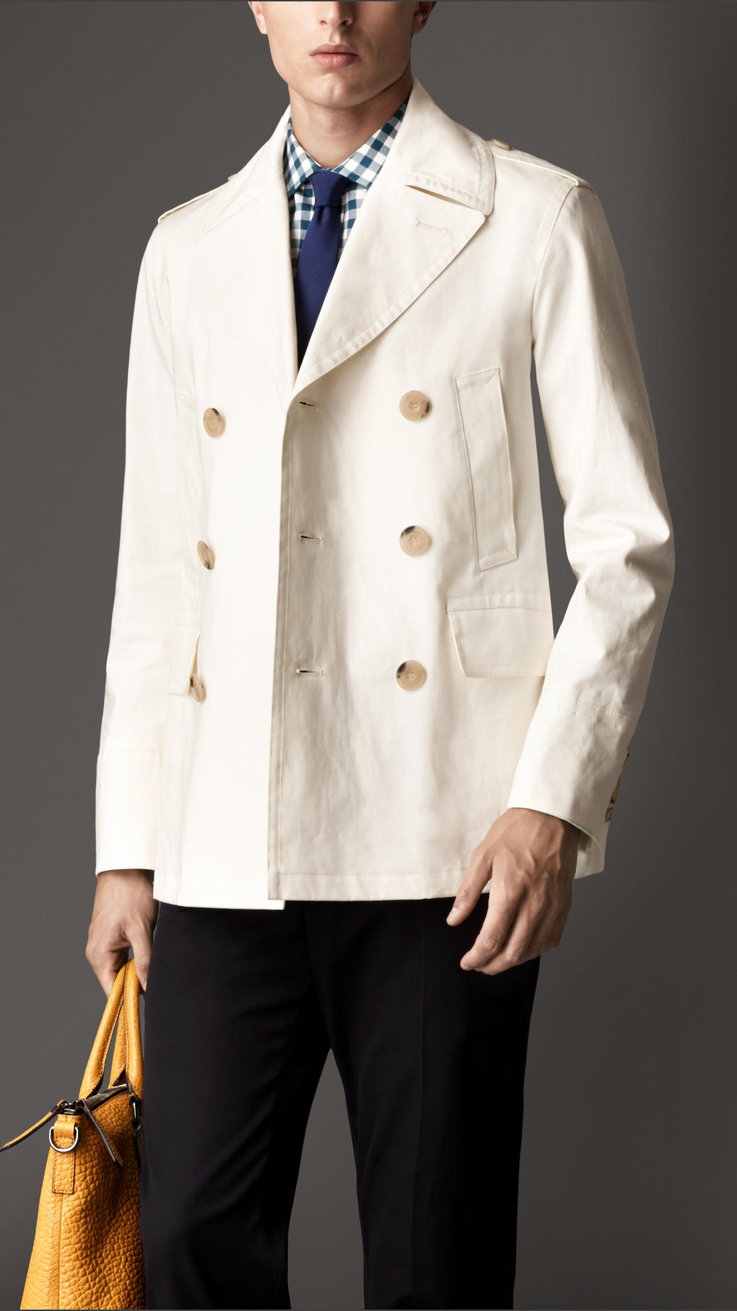 Burberry Bonded Cotton Pea Coat in Natural for Men | Lyst