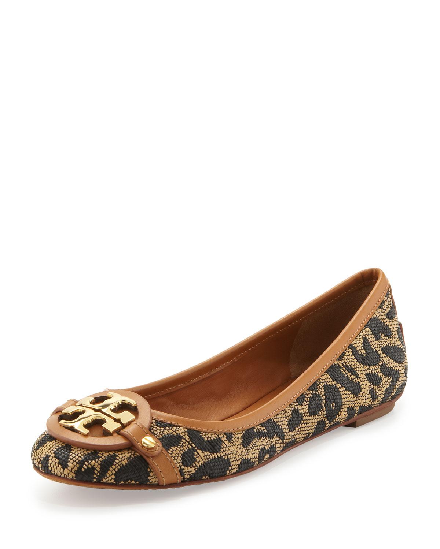 tory burch aaden woven leopardprint ballerina in brown leopard lyst. Black Bedroom Furniture Sets. Home Design Ideas