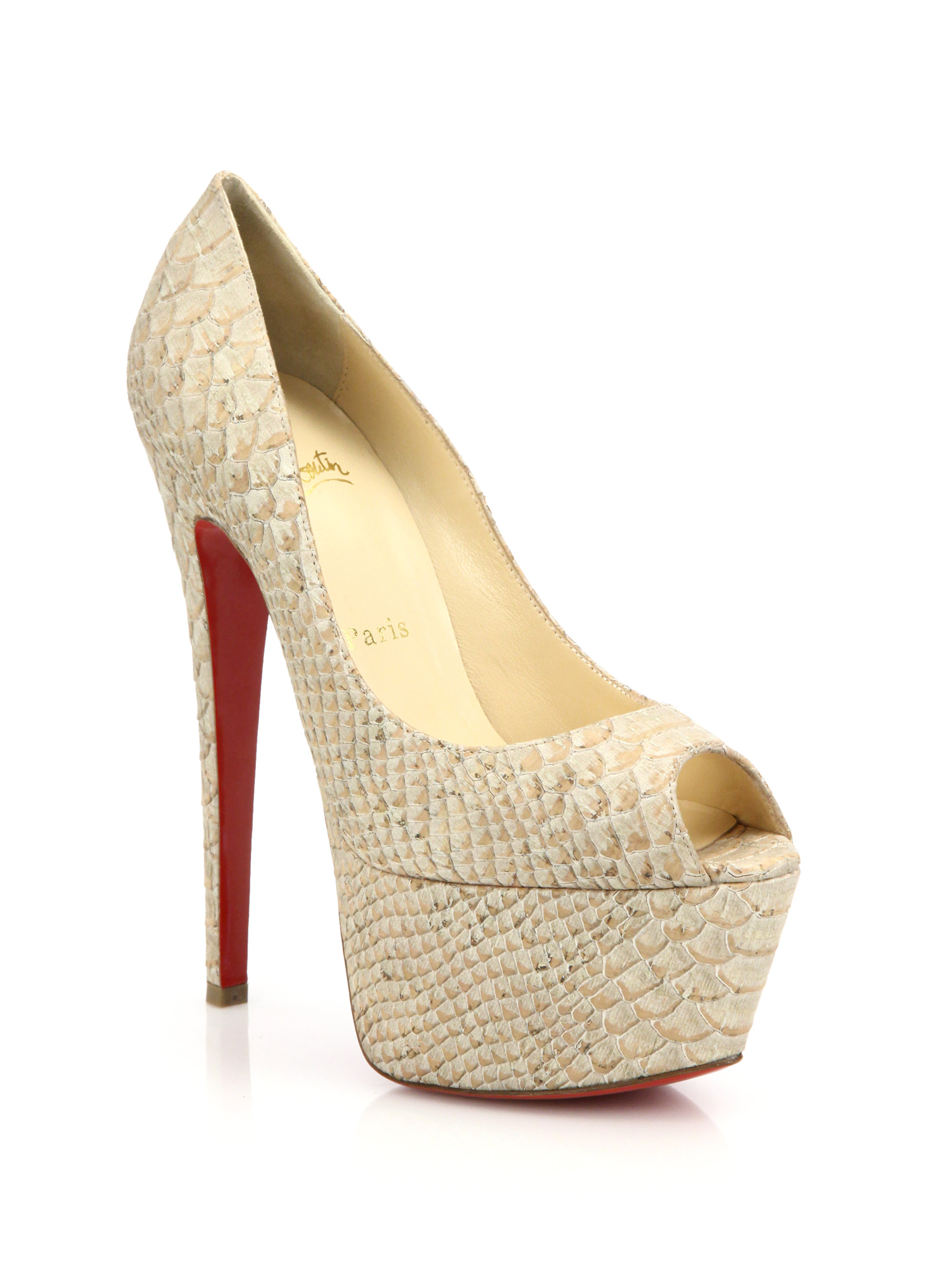 f645251002e0 ... coupon code for lyst christian louboutin jamie snake embossed leather peep  toe ef867 bf77f ...