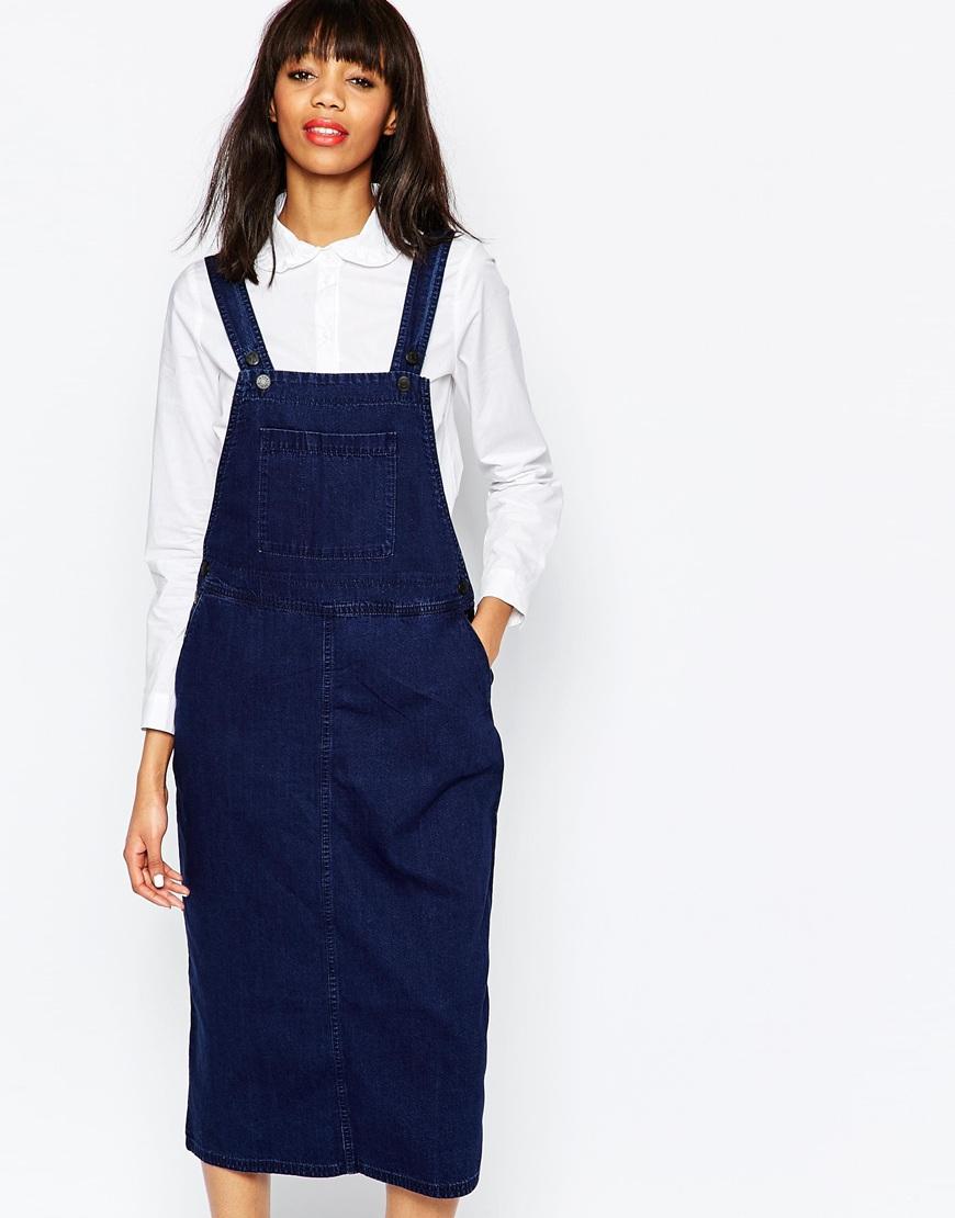8821fdc626199 Monki Denim Dungaree Midi Dress in Blue - Lyst