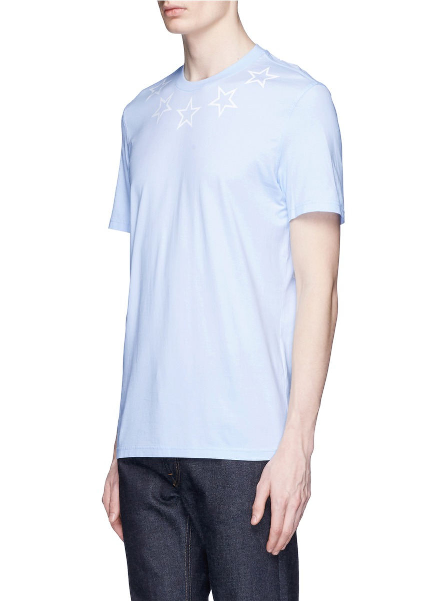 Givenchy star print cotton slub t shirt in blue for men lyst for Givenchy 5 star shirt