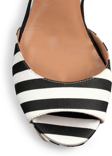 Love Moschino Striped Satin Platform Wedge Sandals In