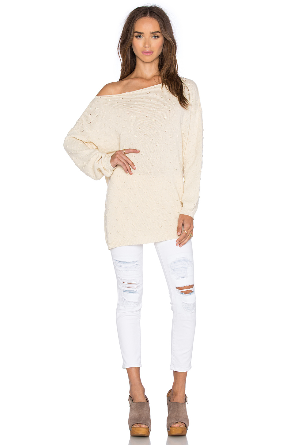 Knit Off Shoulder Sweater Cotton - Cashmere Sweater England