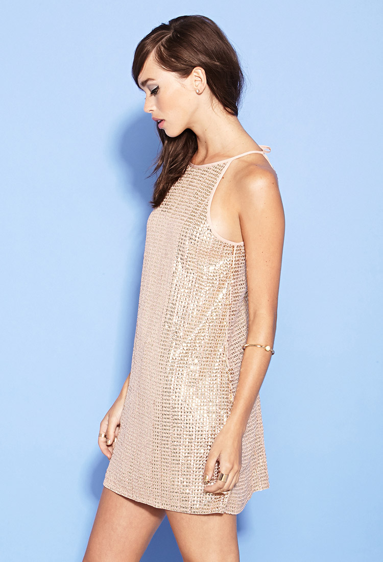f34feaa8 Forever 21 Sequin A-line Dress in Natural - Lyst