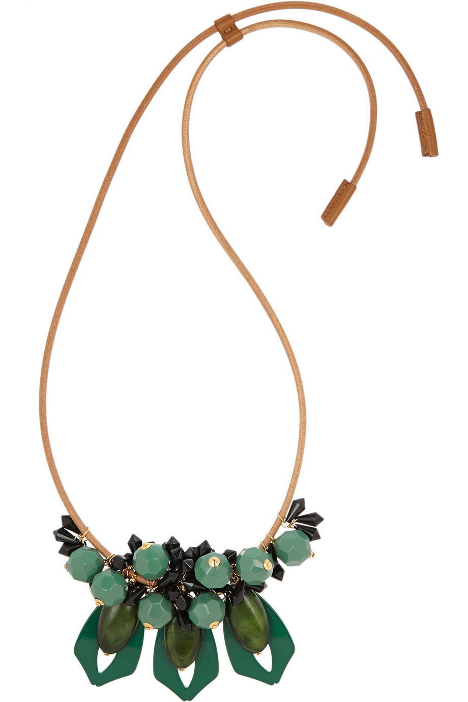 Marni Beads Necklace in Tea Green Resin XRX3mZ