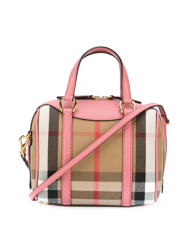 14e909ea1fdb Lyst - Burberry Small Alchester In House Check Bag in Pink