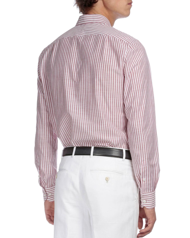 Berluti striped button down shirt in purple for men lyst for Striped button down shirts for men