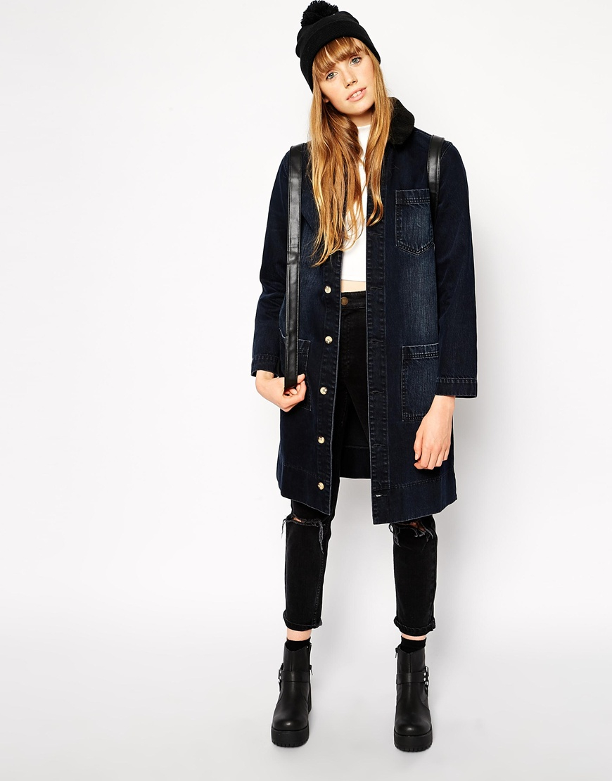 Lyst - Asos Denim Longline Jacket With Fleece Collar In Panther Wash In Black