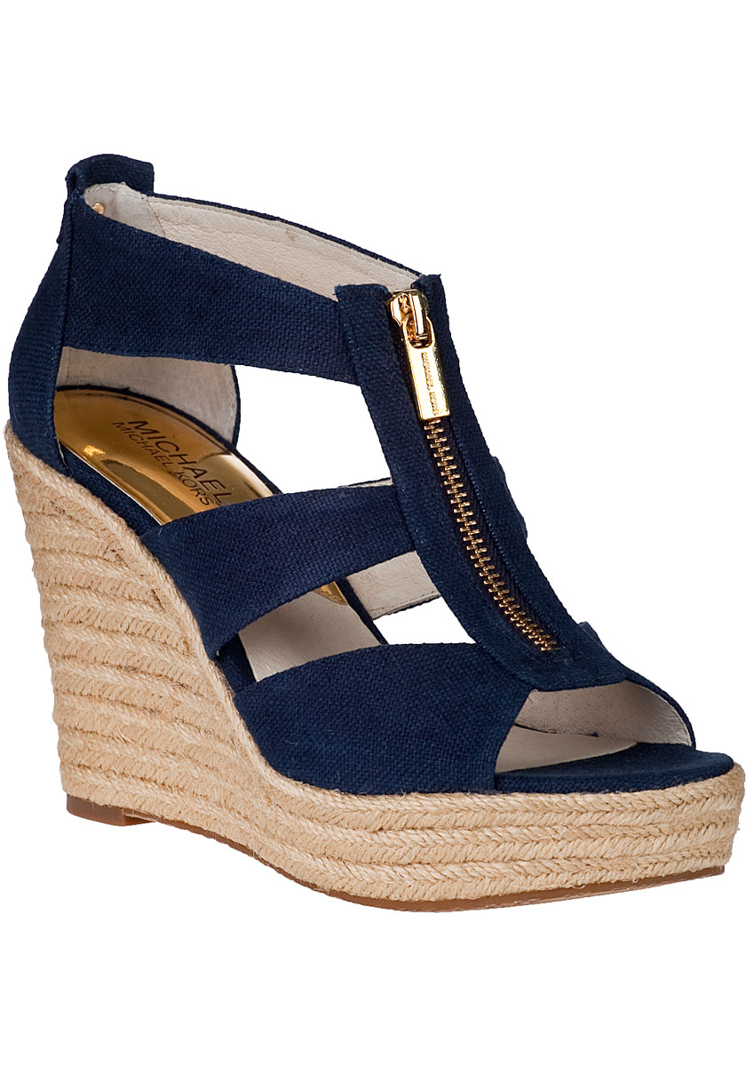 Michael Michael Kors Damita Wedge Espadrille Navy Fabric