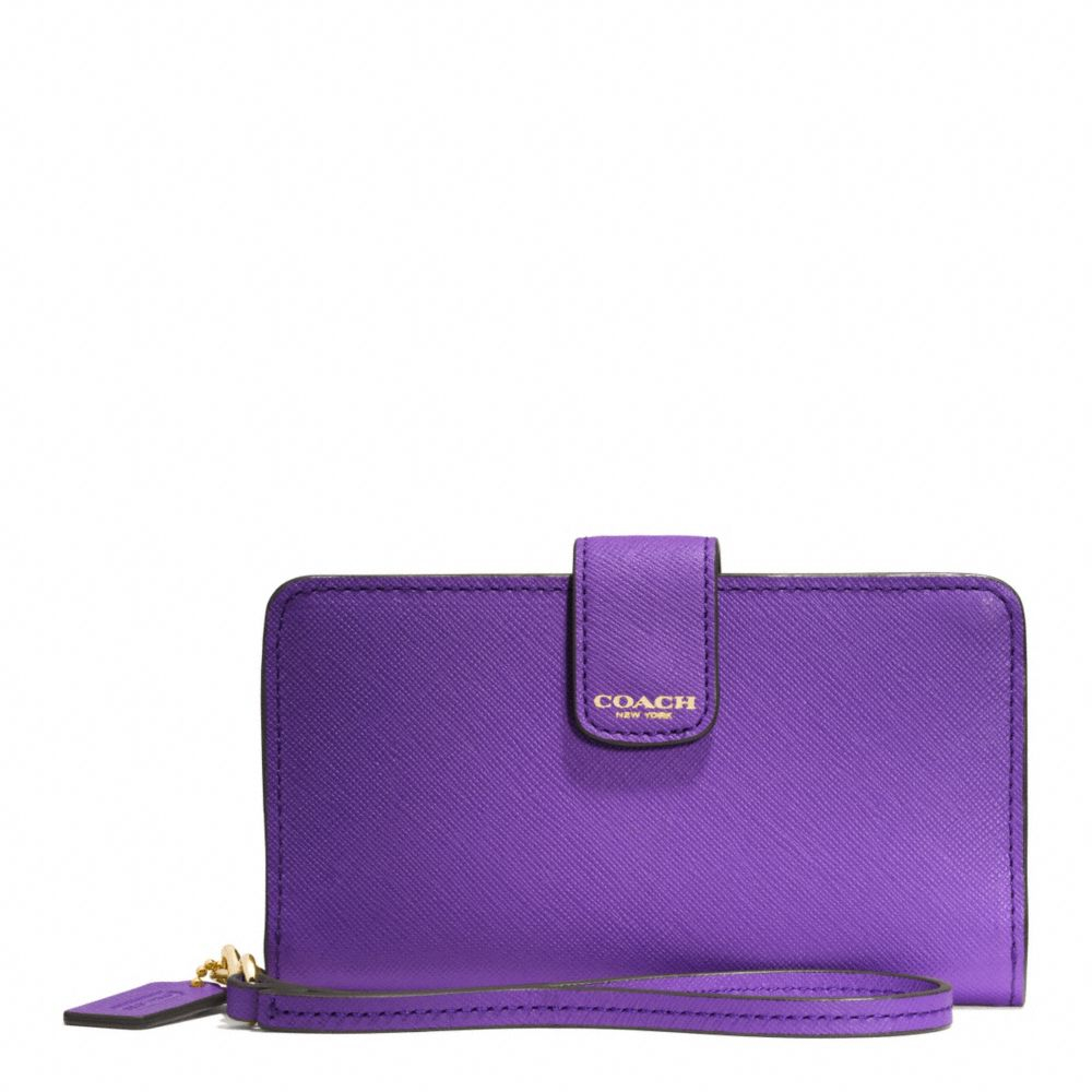 Lyst Coach Phone Wallet In Saffiano Leather In Purple