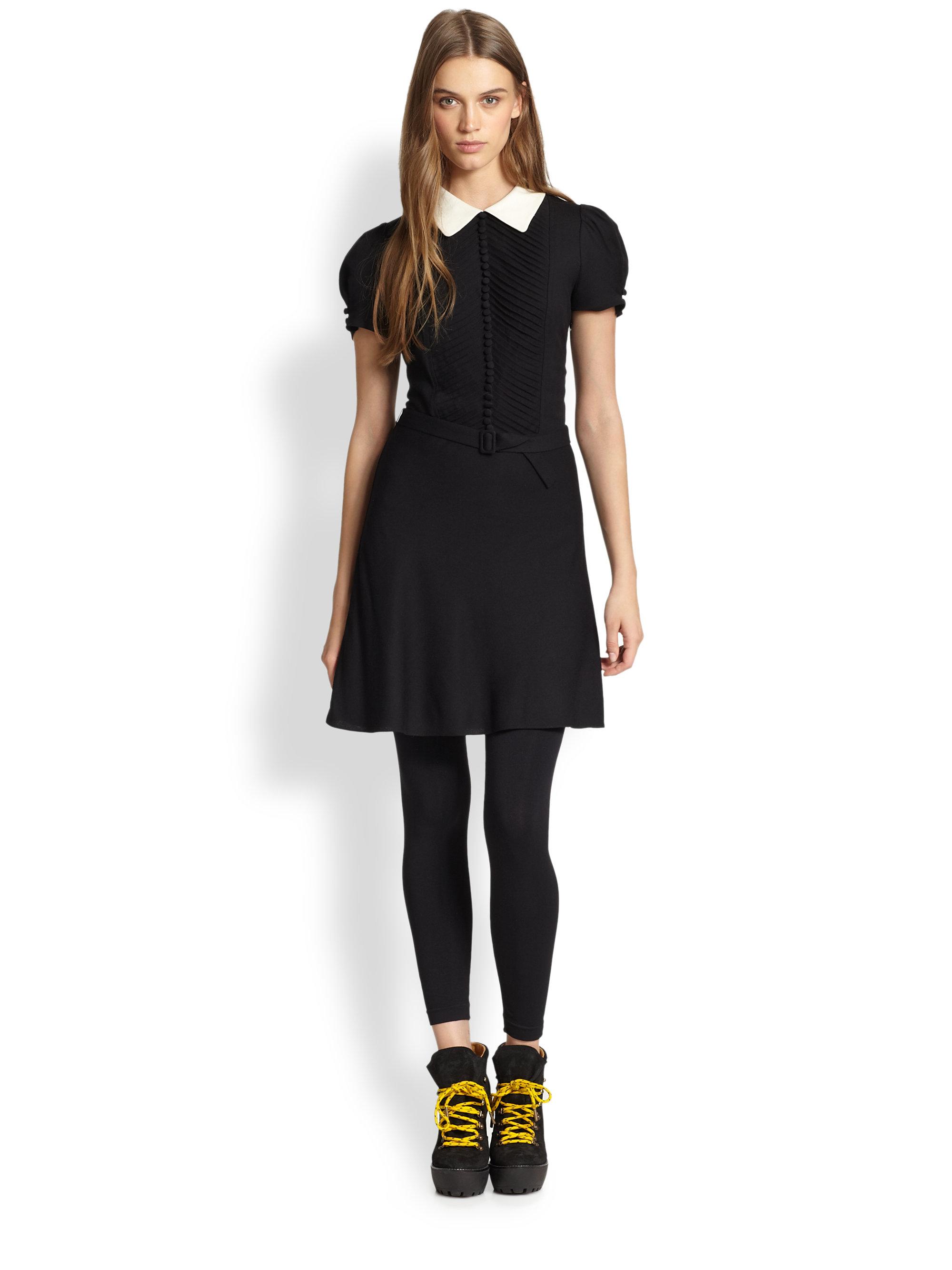 Polo Ralph Lauren Contrast Collar Dress In Black Lyst