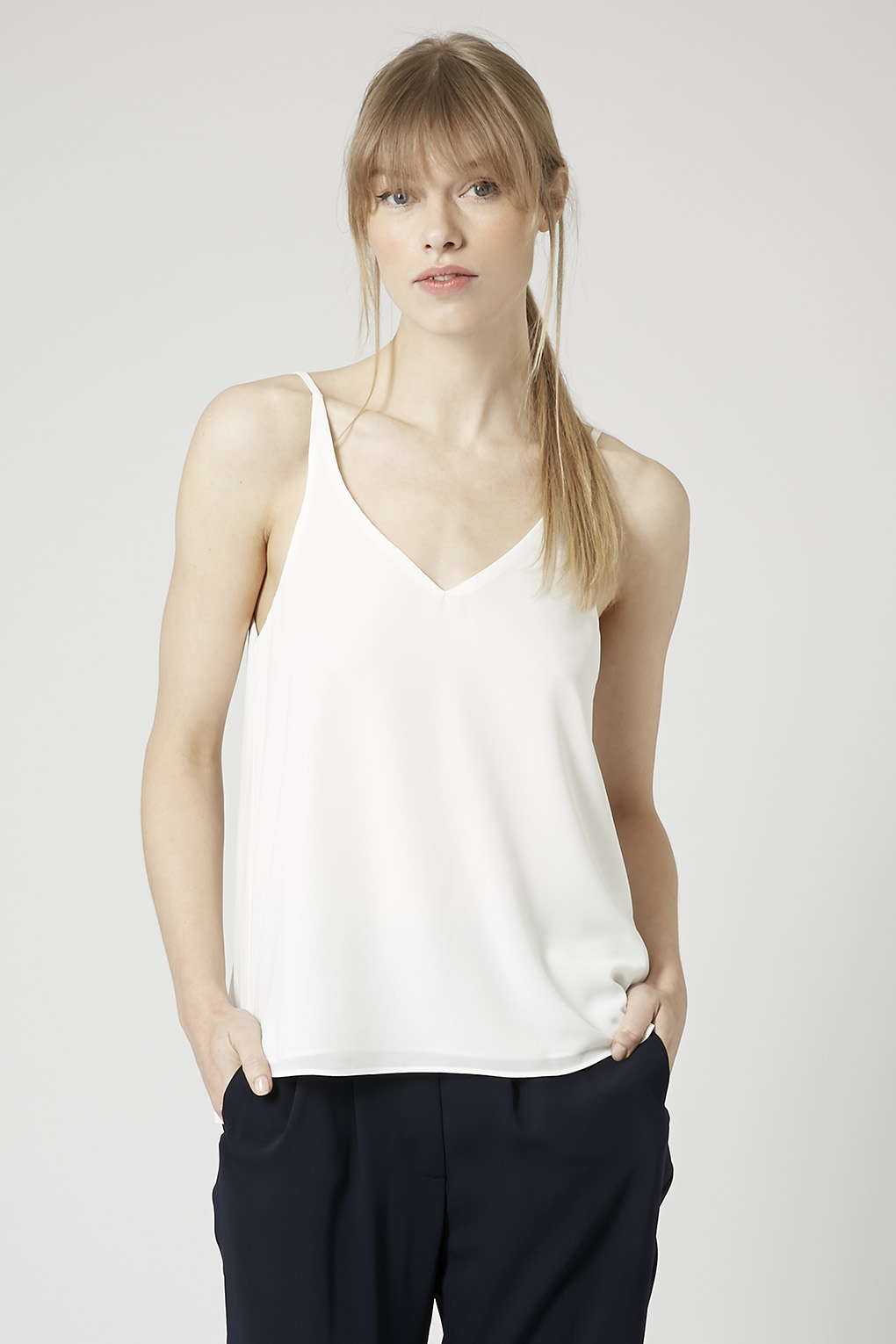 Topshop plunge v neck cami in white lyst for Womens denim shirts topshop