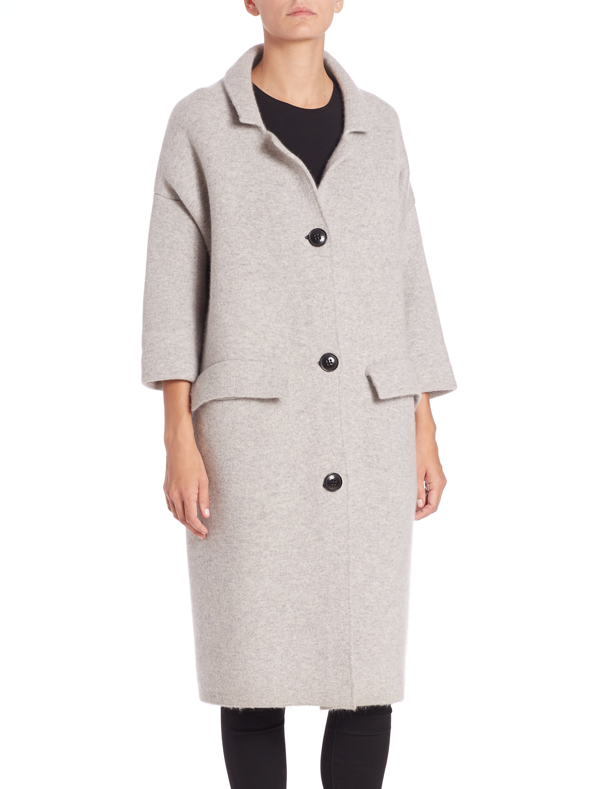Burberry Oversized Wool & Cashmere-blend Coat in Gray | Lyst