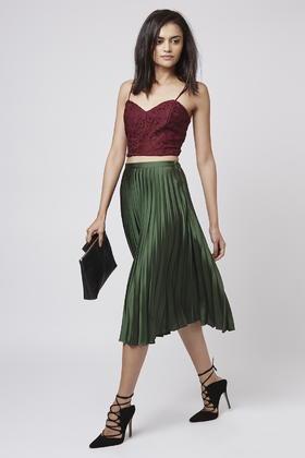 Topshop Tall Satin Pleated Midi Skirt in Green | Lyst