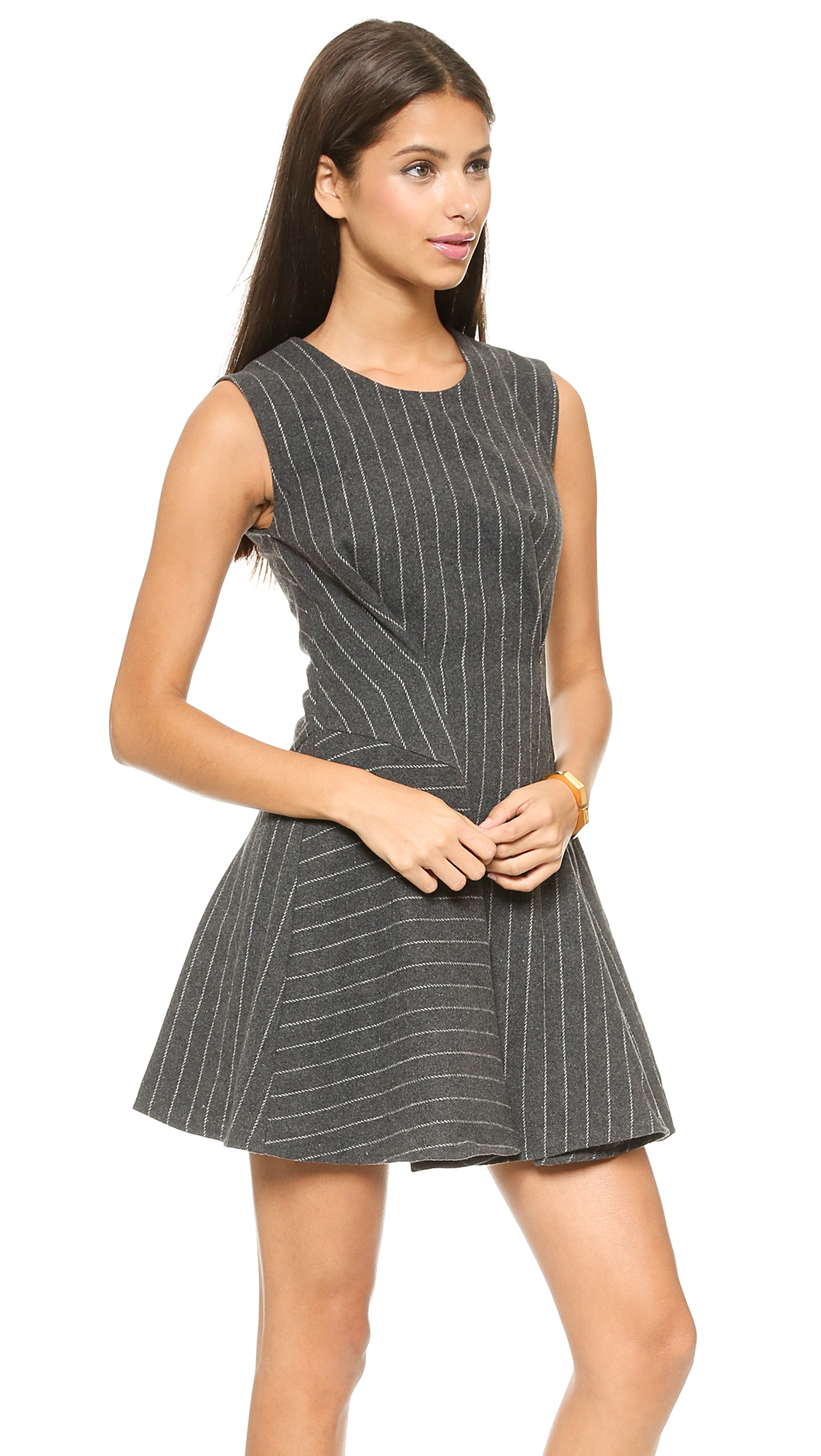 Joa Structured Sleeveless Dress In Pinstripes