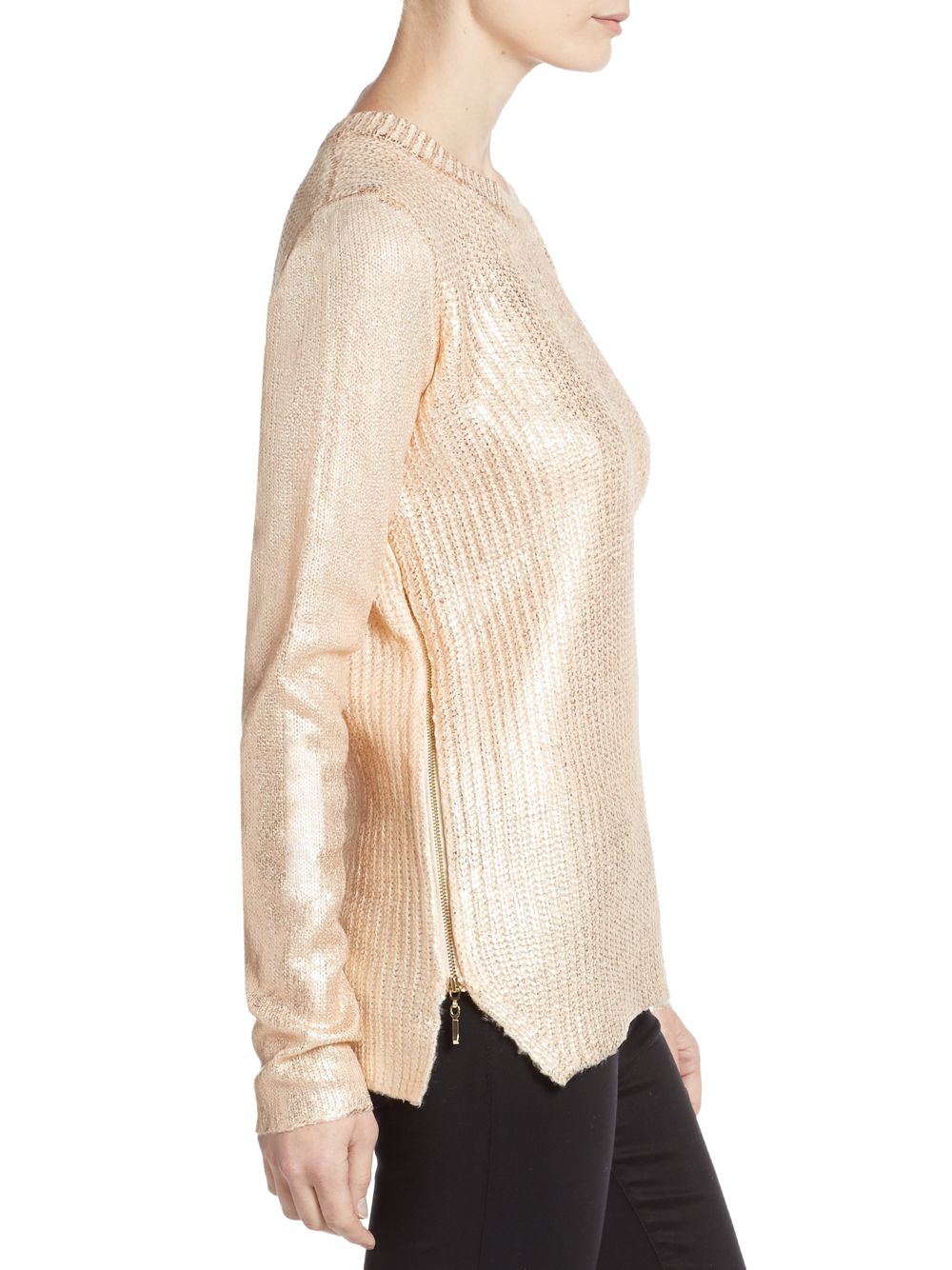 Saks fifth avenue Lame Crackle Side-zip Sweater in Pink | Lyst
