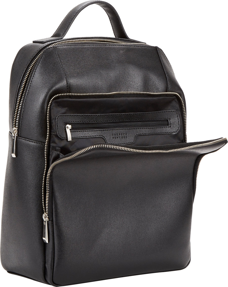 barneys new york saffiano backpack black in black for men. Black Bedroom Furniture Sets. Home Design Ideas