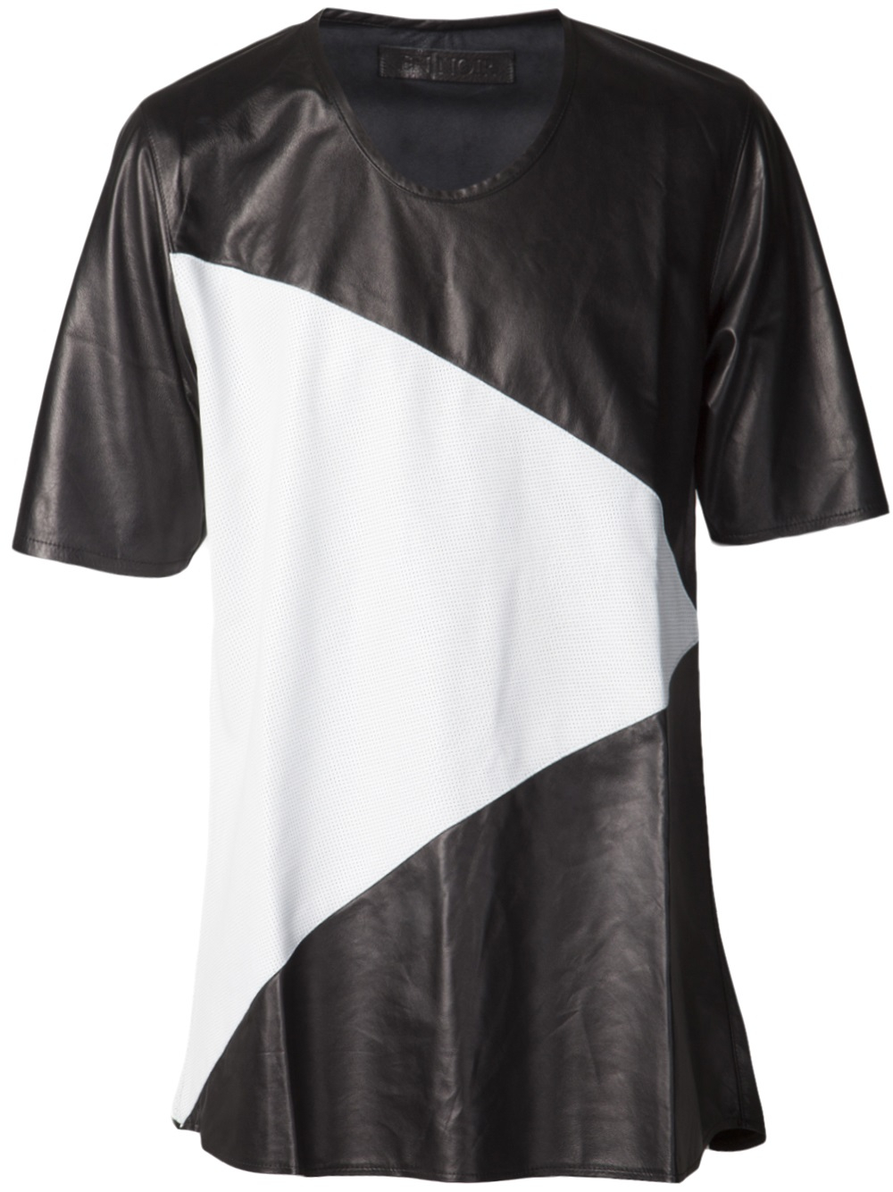 Lyst en noir uneck leather tshirt in white for men for Mens white leather shirt
