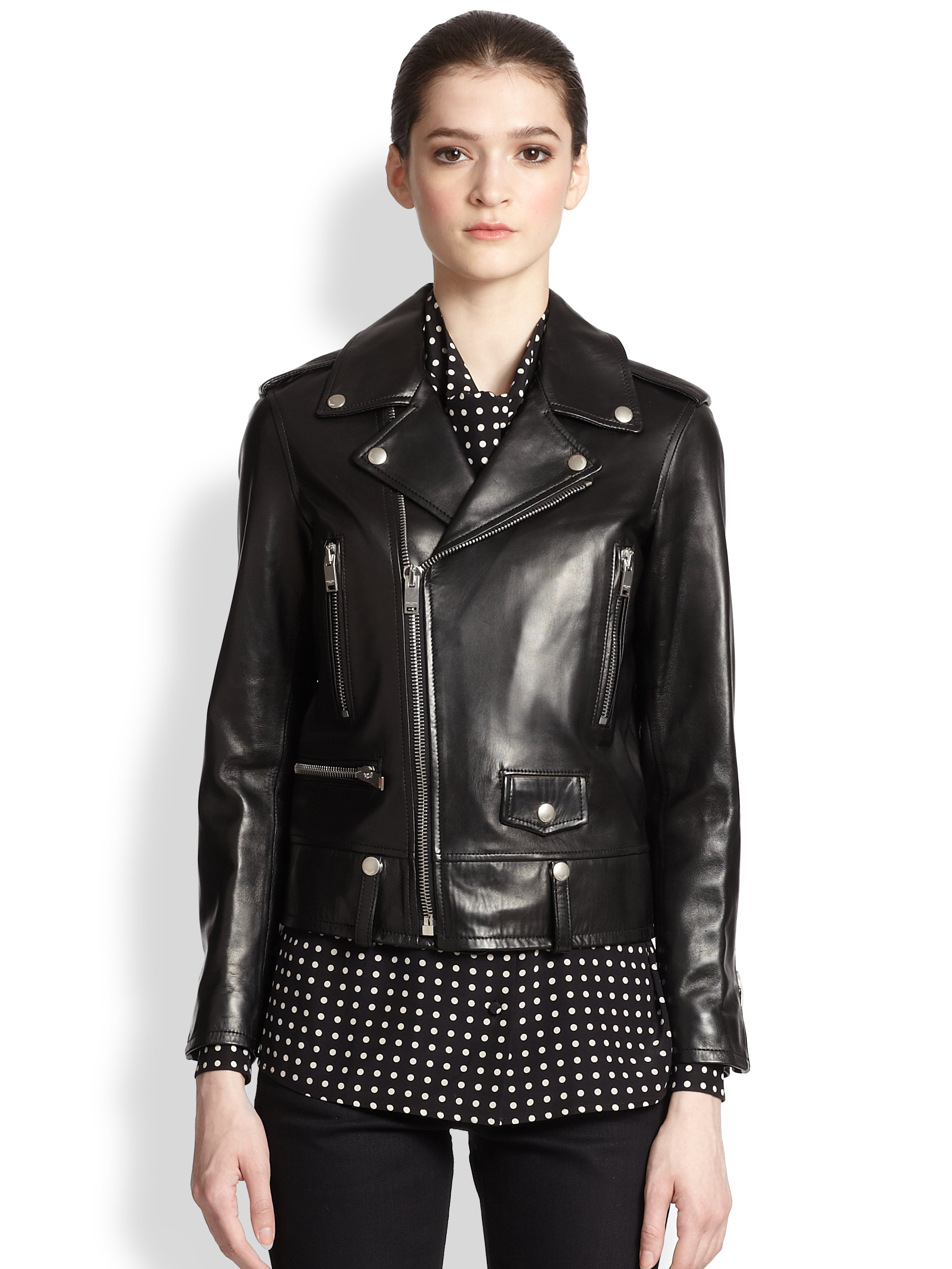 Saint laurent Classic Leather Motorcycle Jacket in Black | Lyst