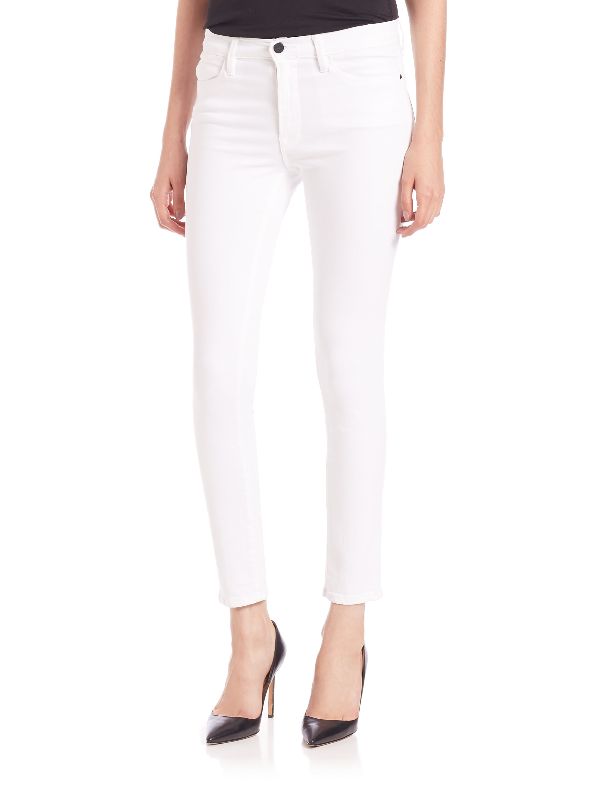 Lyst Frame Le High Rise White Skinny Jeans In White