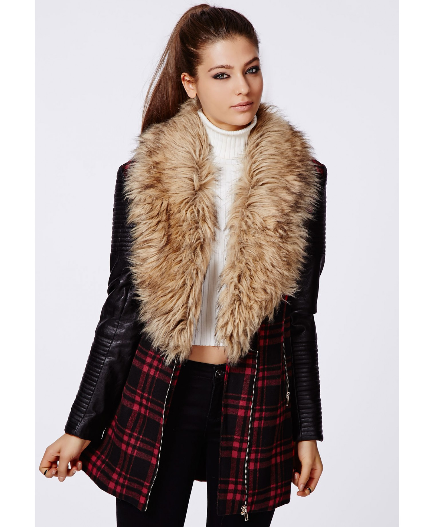 Missguided Orla Faux Fur Leather Biker Sleeve Coat Red Check in ...