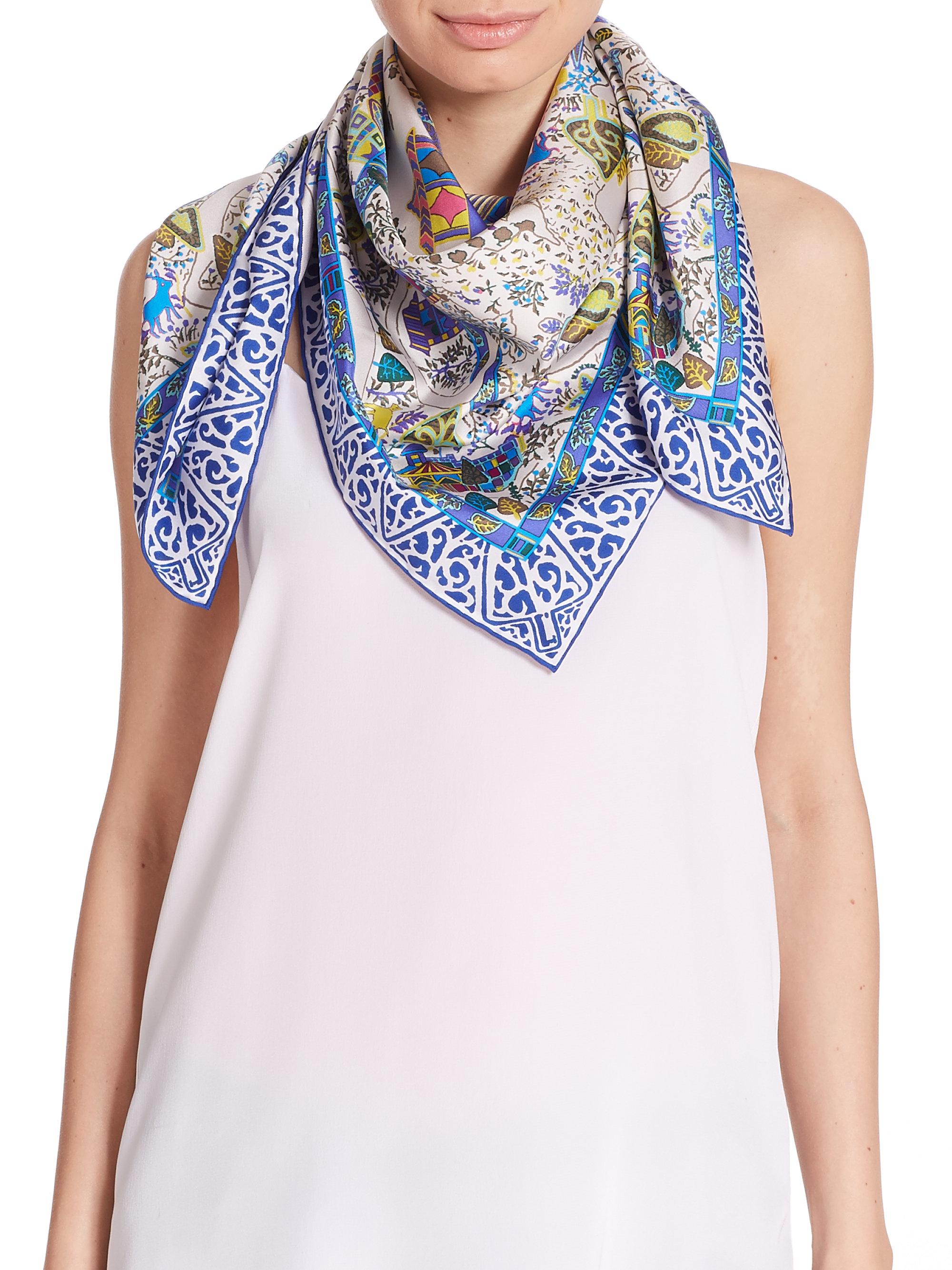 Ferragamo Impero Silk Scarf in Blue - Lyst