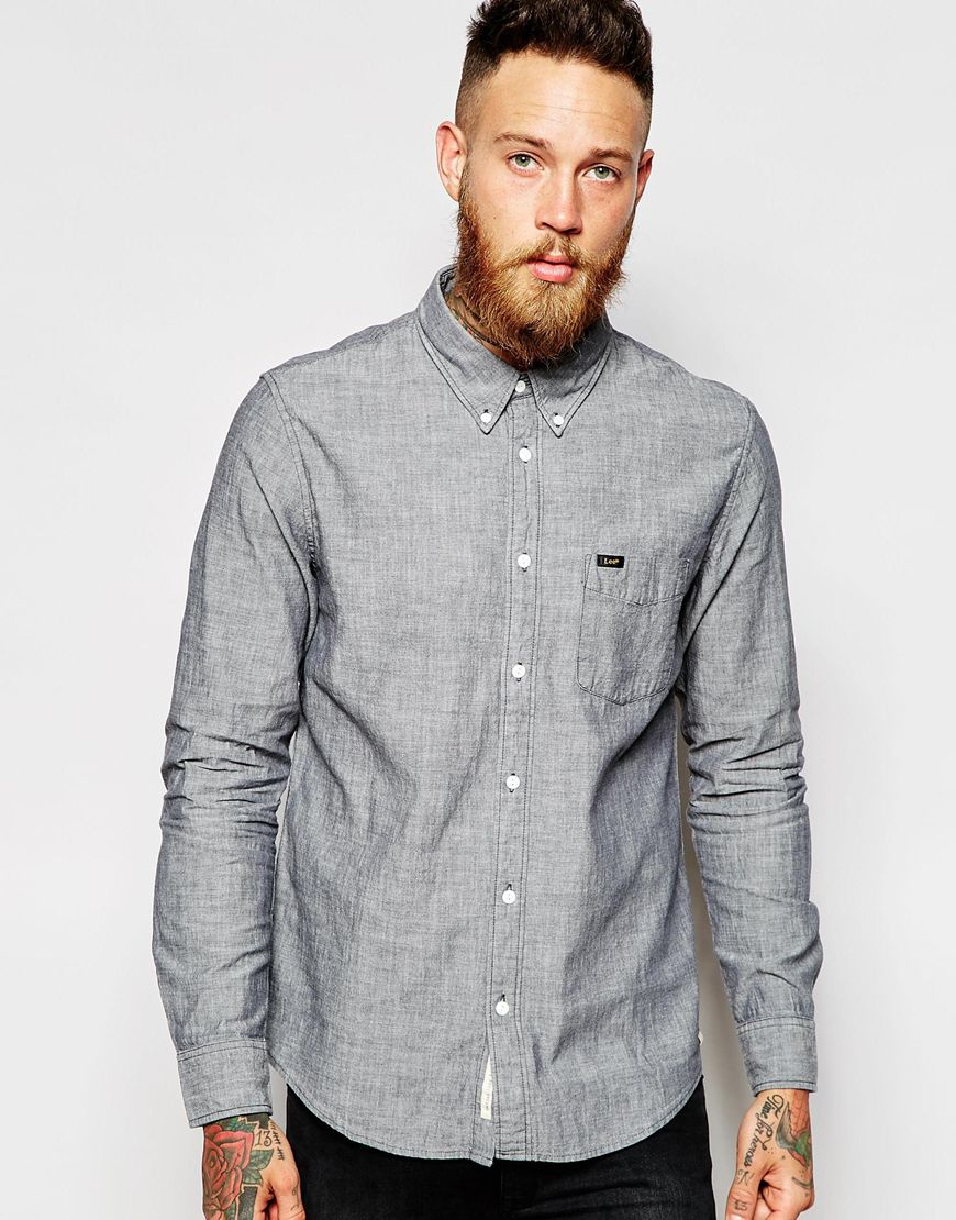Lee jeans Shirt Buttondown One Pocket Grey Chambray in Gray for ...