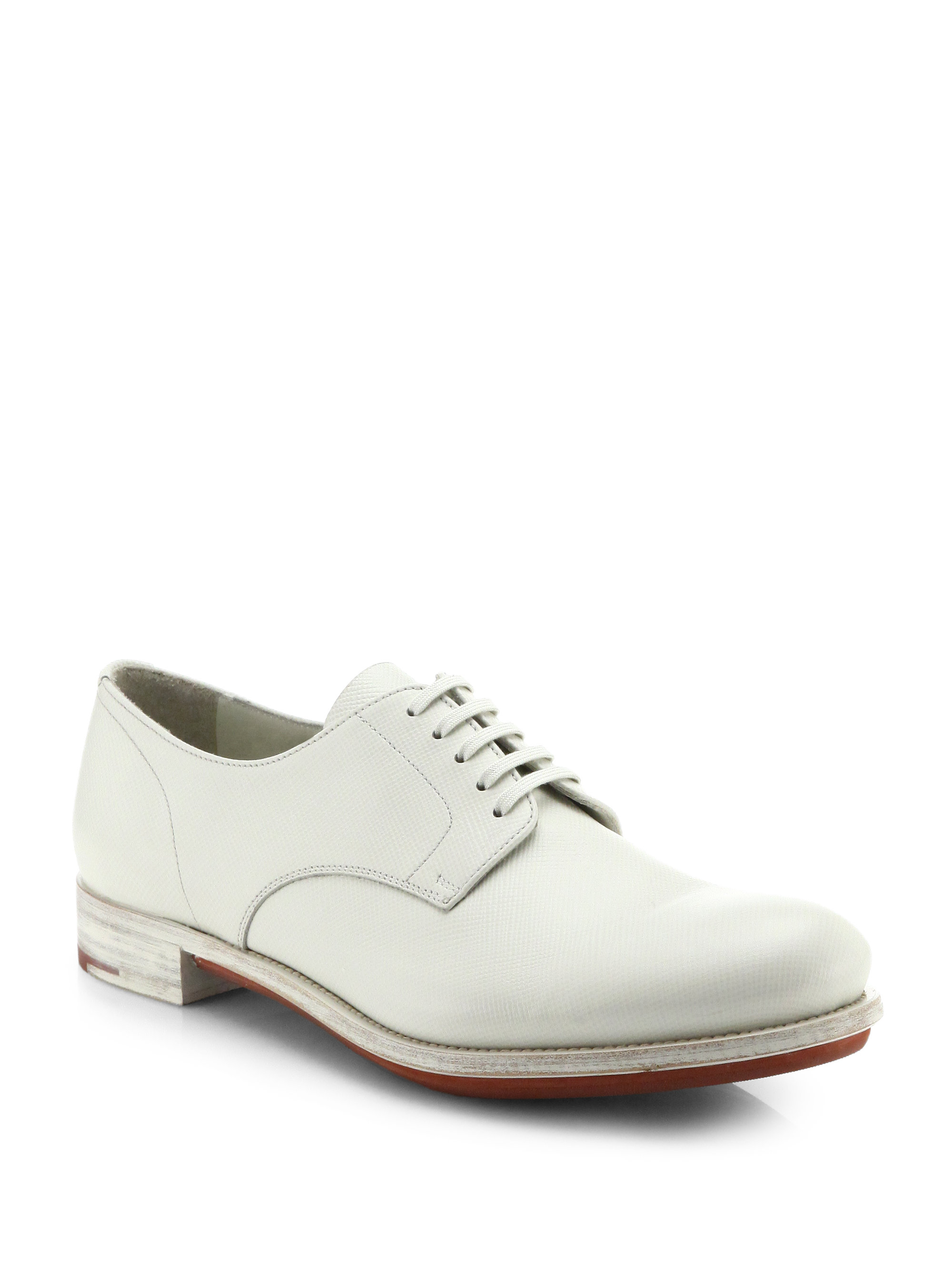 prada saffiano leather derby shoes in white for light