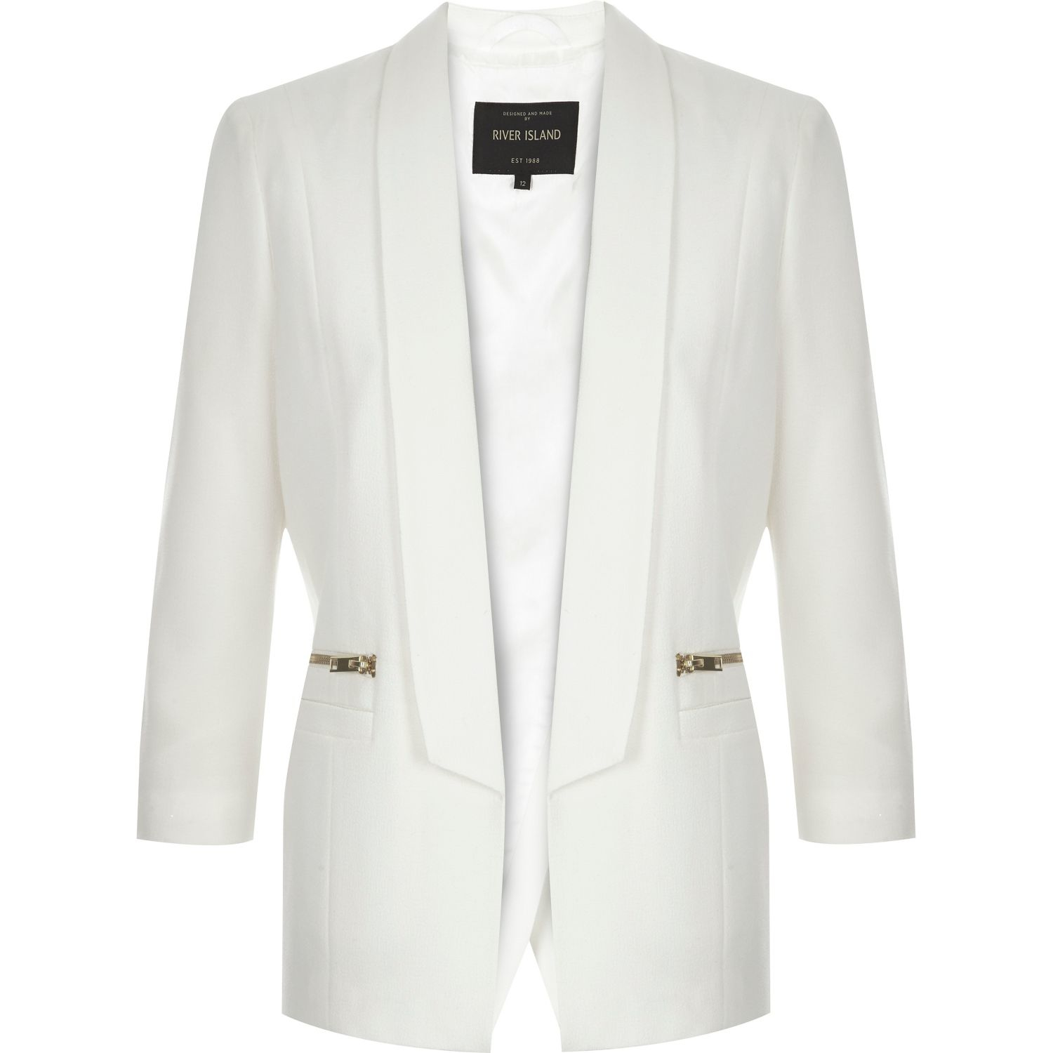 River island White Open Back Smart Blazer in White | Lyst