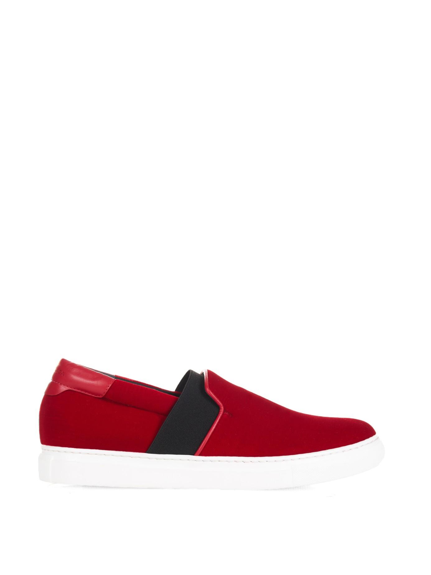 lyst balenciaga velvet skate sneakers in red