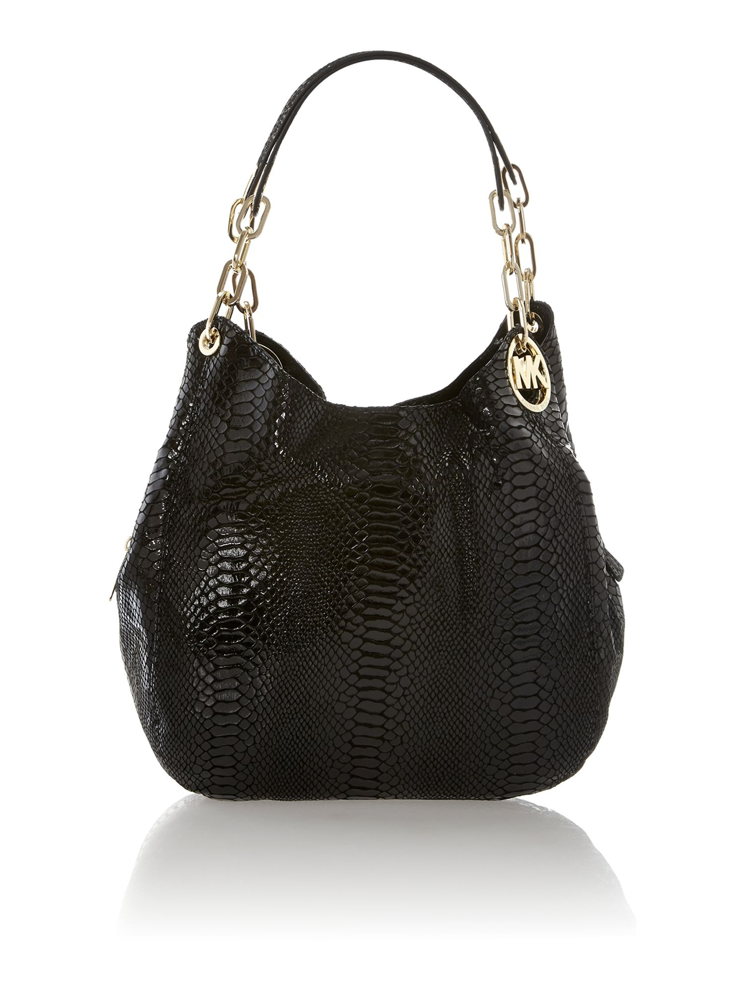 michael kors fulton black python hobo bag in black lyst. Black Bedroom Furniture Sets. Home Design Ideas