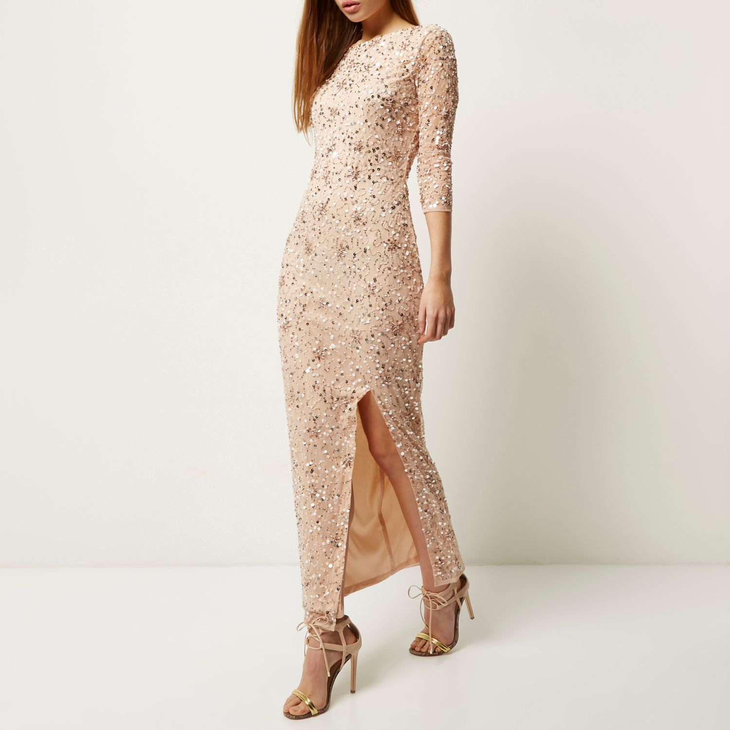 River island light pink pleated maxi dress