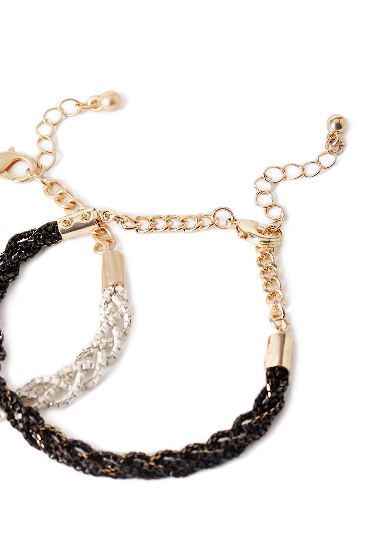 Lyst Forever 21 Braided Chain Bracelet Set In Metallic