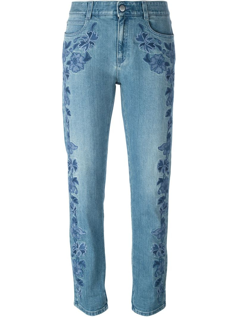 Stella mccartney embroidered floral jeans in blue save