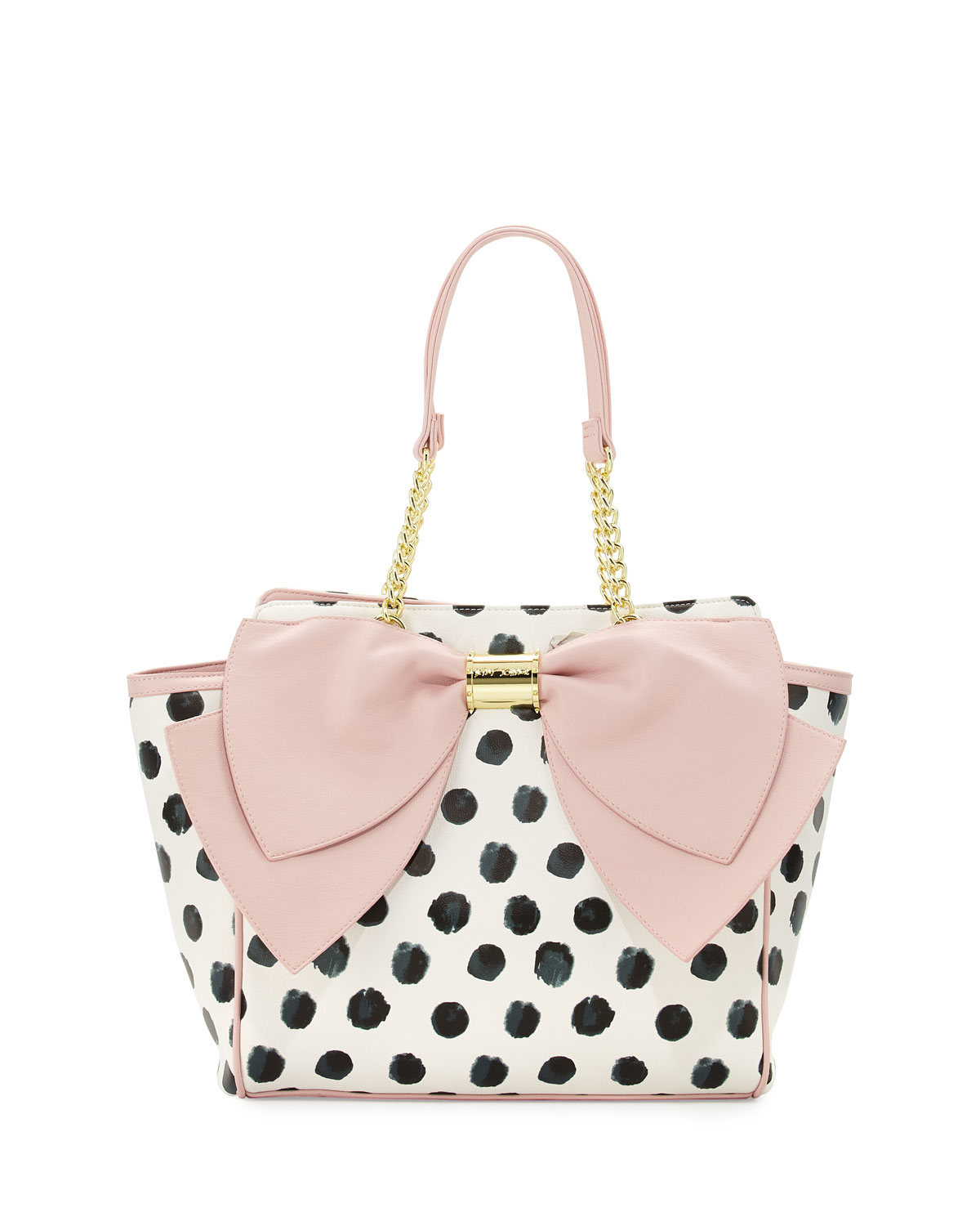 65b0a366e8 Lyst - Betsey Johnson Signature Bow Polka-dot Tote Bag in Black