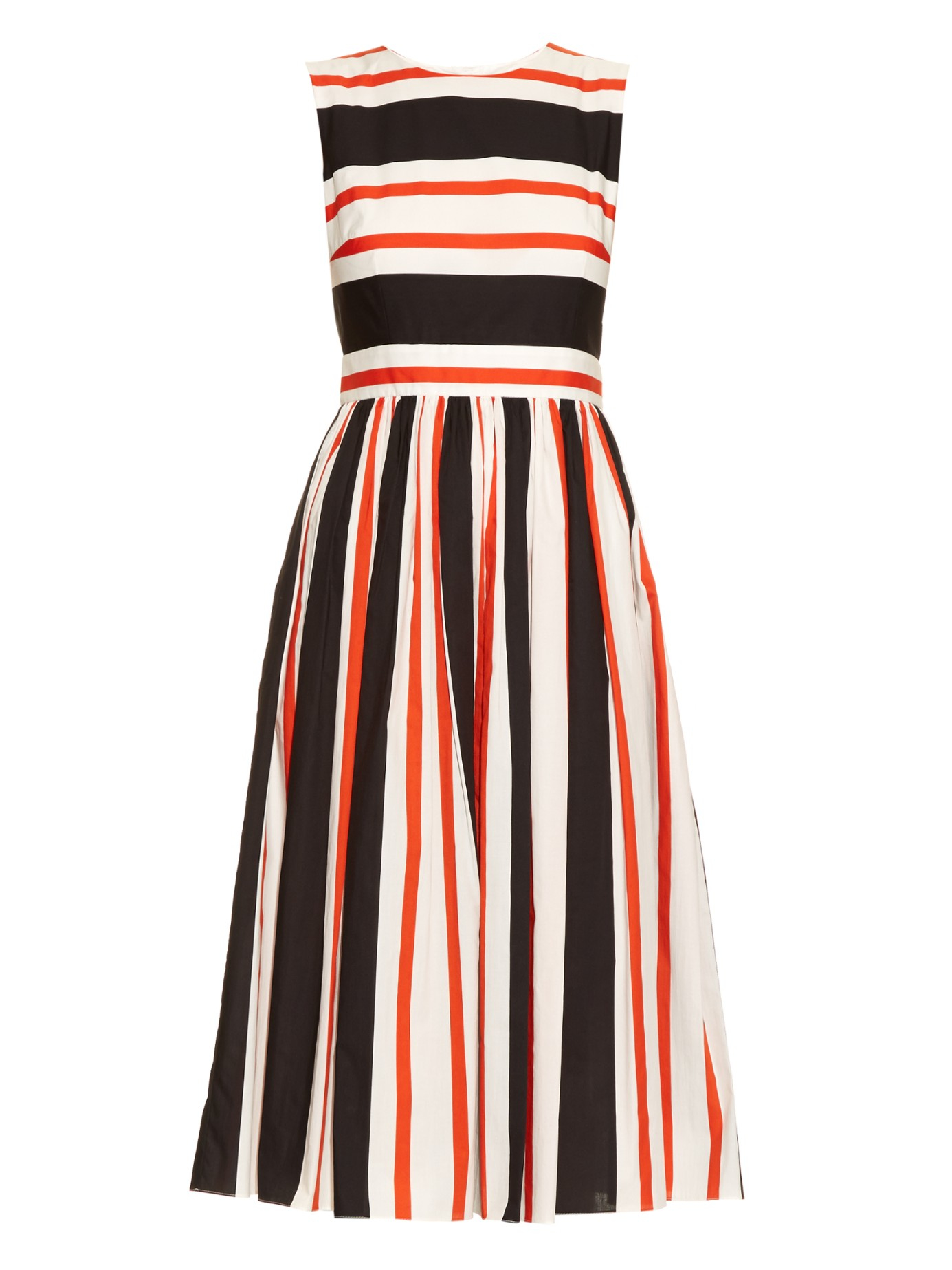 Dolce Amp Gabbana Striped Sleeveless Cotton Dress In Orange