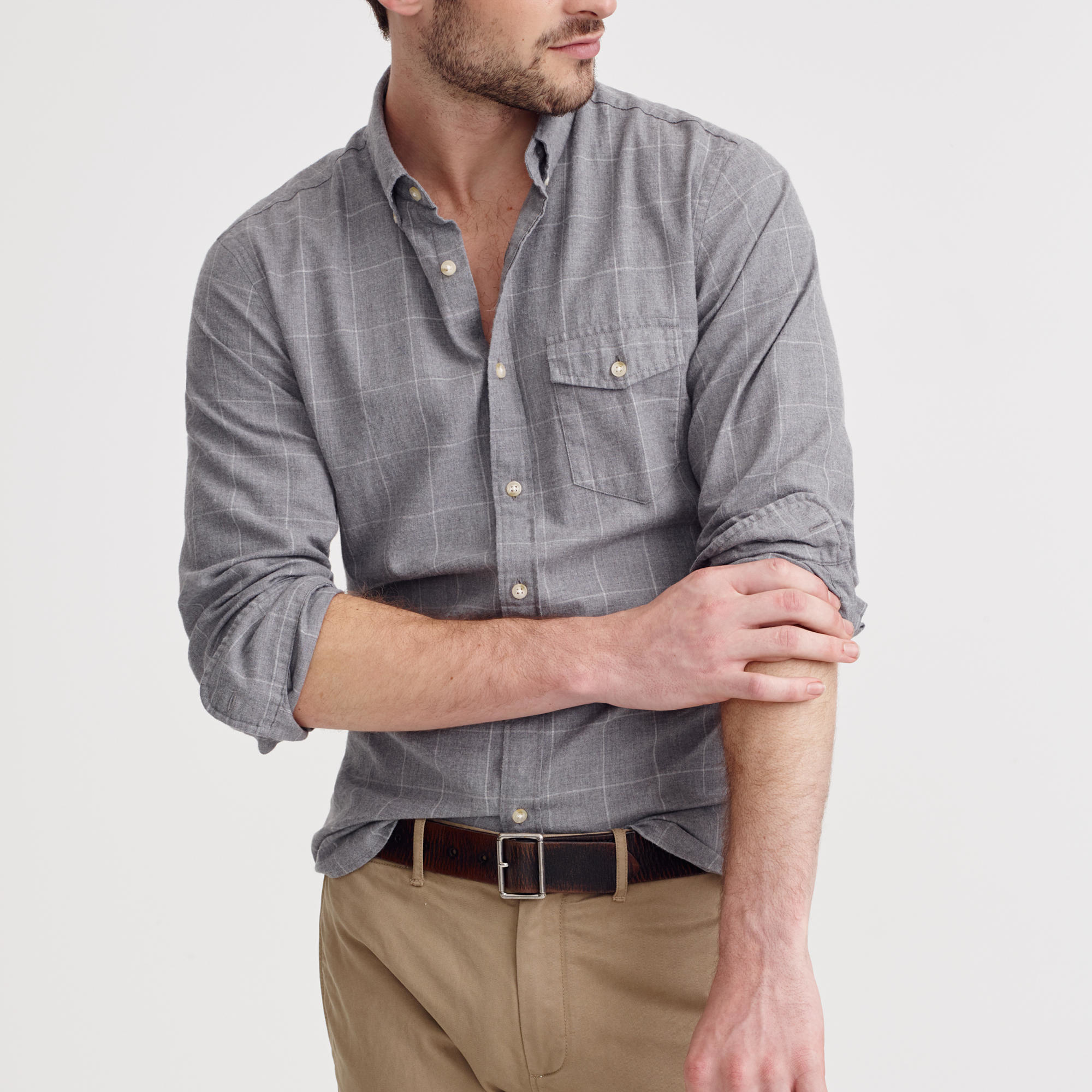 Lyst J Crew Brushed Twill Shirt In Windowpane In Black