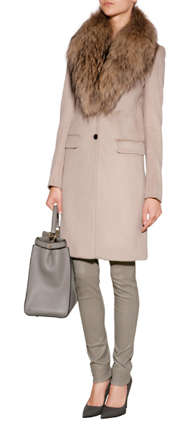 Joseph Wool-Cashmere Coat With Fur Collar in Pink | Lyst