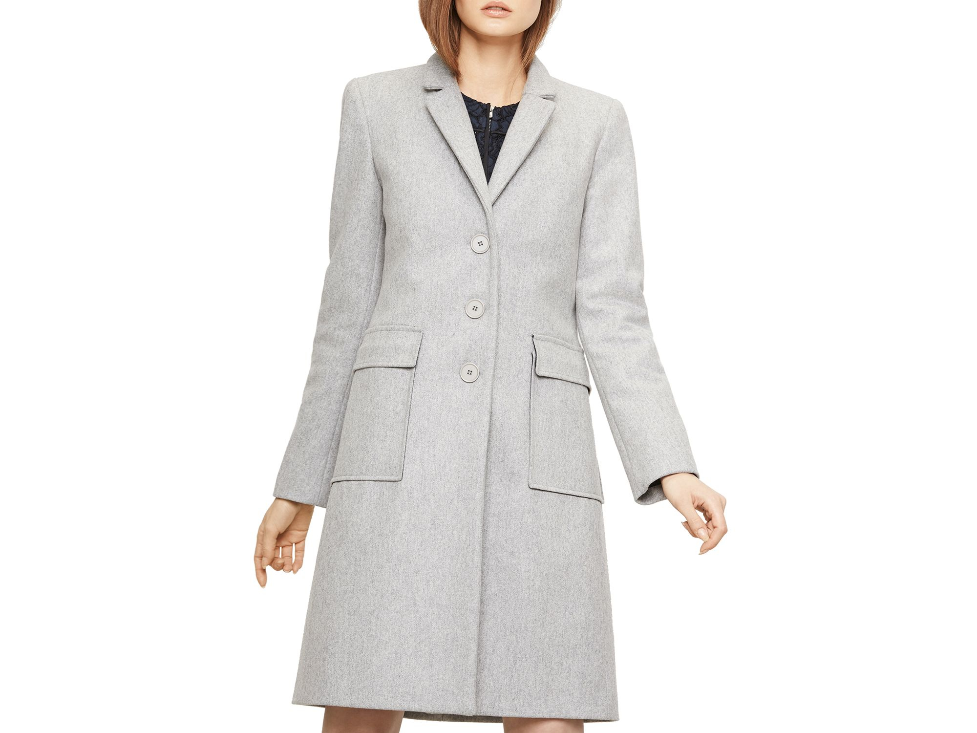 Maje Grakim Wool Coat in Gray | Lyst